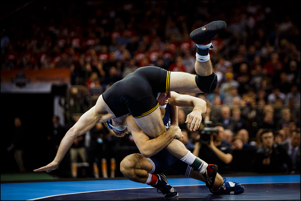 Iowa's Brandon Sorensen wrestles Penn State's Zain Retherford during their NCAA championship bout on Saturday, March 19, 2016 in New York City, New York. Retherford would go on to win 10-1.