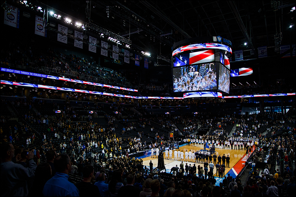 Iowa and Villanova line up for the national anthem before their second round NCAA Basketball Championship game against on Sunday, March 20, 2016 in New York City, New York. Villanova would go on to win 87-68.