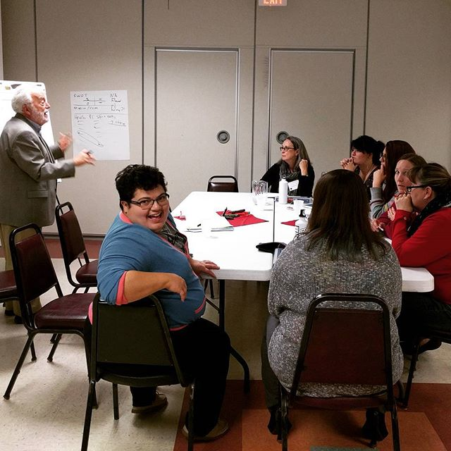 We love Tom Wolff! Here he is coaching the Safe Spaces Coalition the Chippewa Valley on their community engagement plan. And @eshor_panda, their coach, breaking the wall. #happyfriday