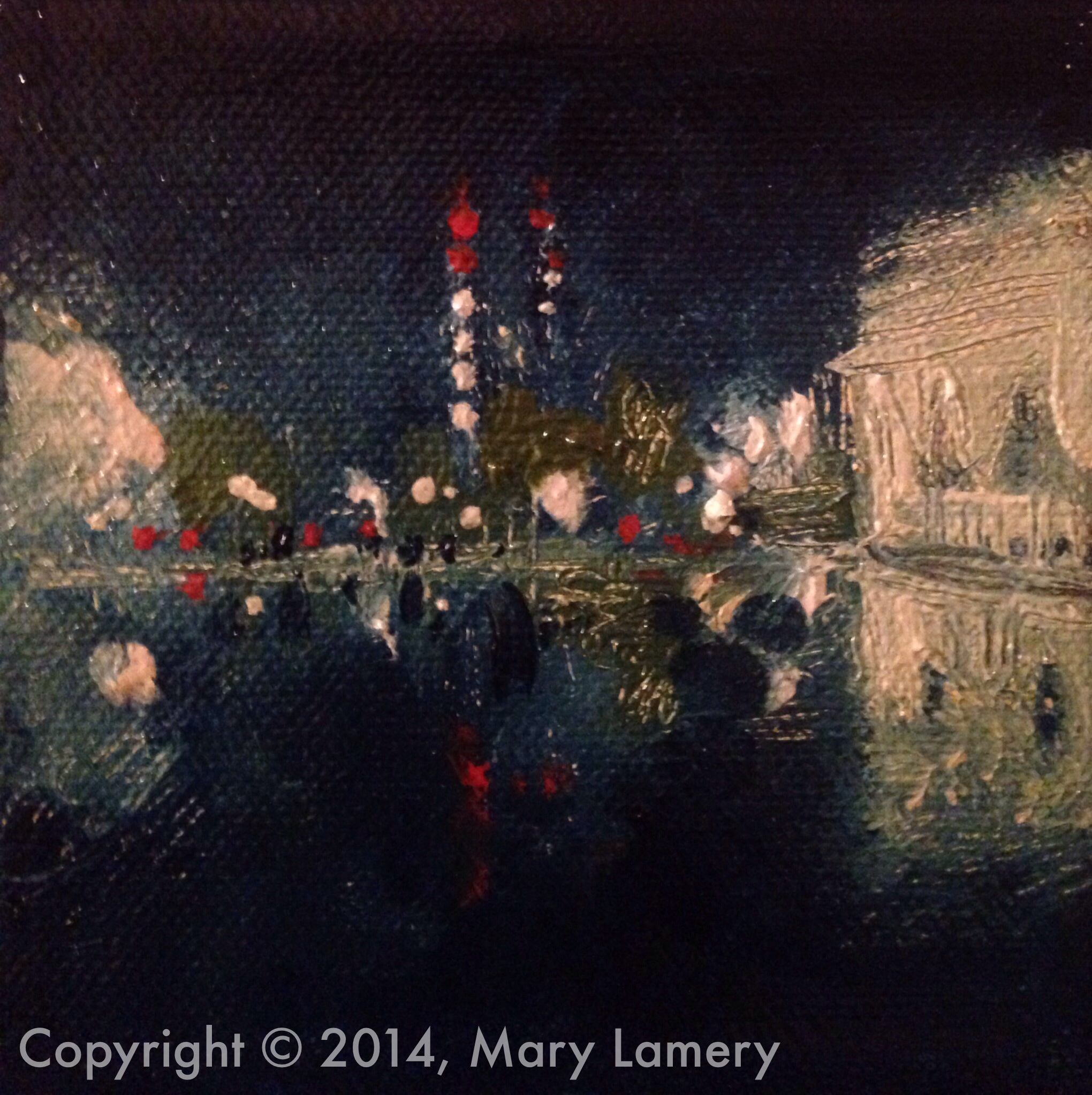 """Reflection Pool, Cal Anderson Park. 4""""x4"""". Oil on Canvas. 2014.  Day 16. September 16, 2014   """"This sweet painting portrays the romance and mystery that is Seattle at night. It is at once sparkling and energetic, moody and reflective. My parents were young newlyweds in the mid-fifties living downtown --mother a nurse at Virginia-Mason, father a radioman for the Coast Guard. They often spoke about their long walks together at night. I can't say for certain that they ever wandered into this portion of the city, but oh, how I love to imagine them there, strolling hand in hand on a late summer evening."""""""