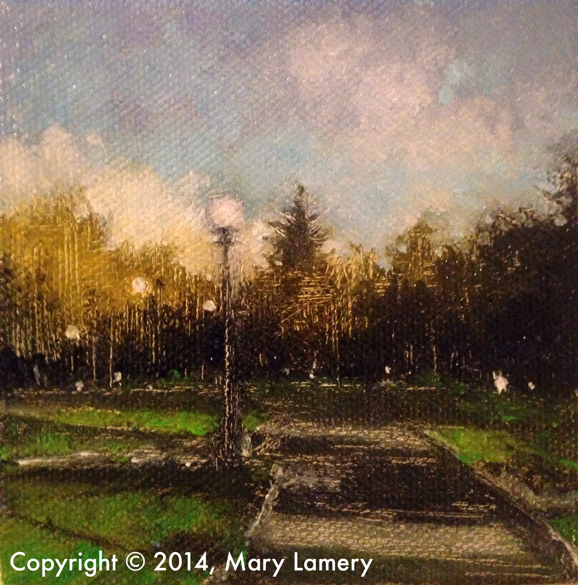"""Morning, Cal Anderson Park. 4""""x4"""". Oil on Canvas. 2014.   Day 30. September 30, 2014   """"This is the path I run on every Saturday morning at 8 am. I always question my sanity getting up at 6:15 and driving to Captiol Hill to run but once I start I'm reminded of why I love running in Cal Anderson in the early morning. It's so peaceful you forget that you are in the middle of the city. You get to know the parks workers – most of them usually wave. There is also a lady that is always out with at least two large dogs, sometimes a doggie friend joins them to make it three. They always say hello. The blues and greens in this painting perfectly capture that """"fresh morning"""" feeling – where everything seems a bit more new, clear and clean. It's that part of the day where Seattle seems to take a deep breath and exhales before the hustle and bustle begin."""""""
