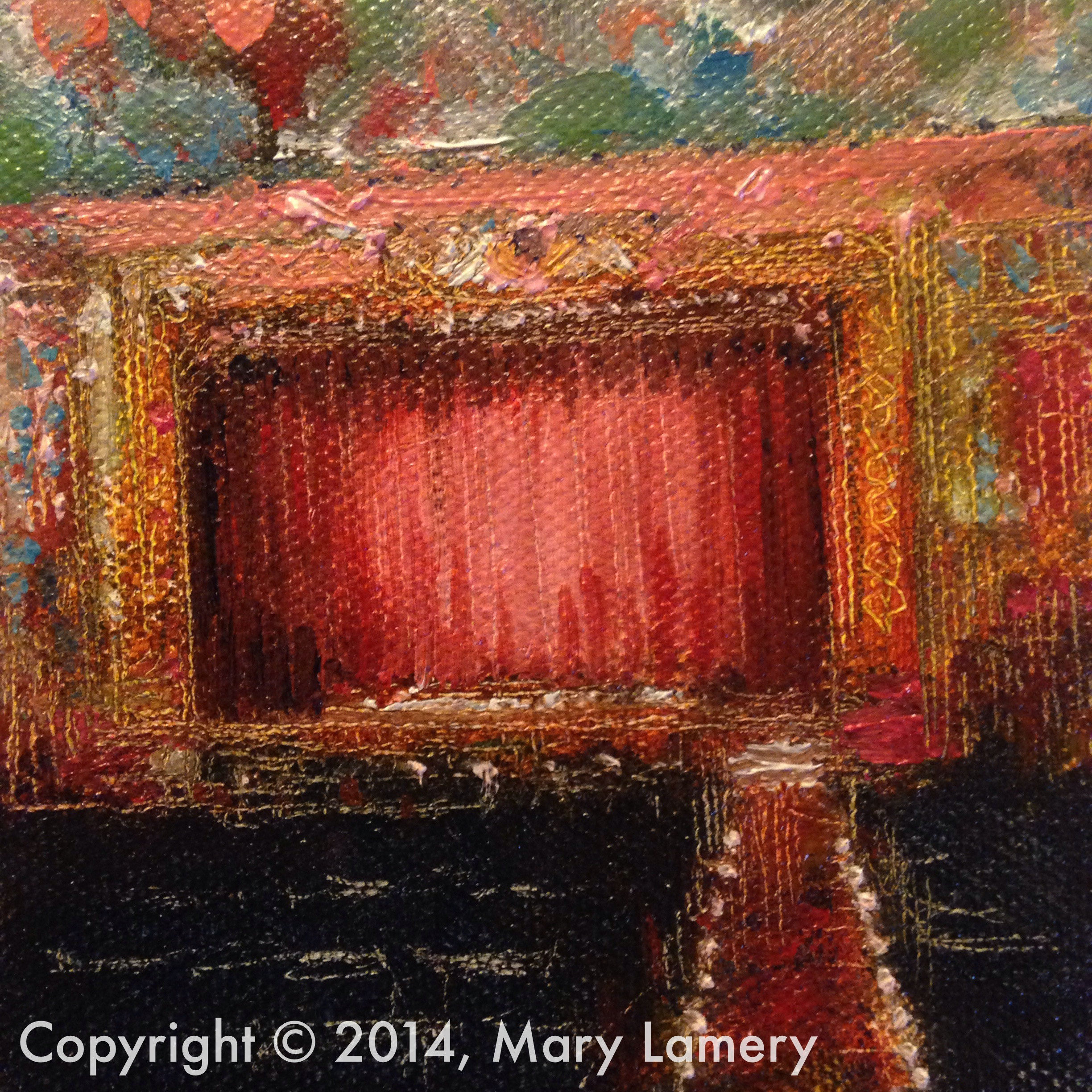 """Egyptian Theatre. 4""""x4"""". Oil on Canvas. 2014.   Day 44. October 14, 2014    """"You beautifullycaptured some of my most priceless, peaceful moments in my journey. I would patiently wait for hours so I could get """"my seat"""" and once I sat down """"ah, I'm here, let the journey begin""""."""