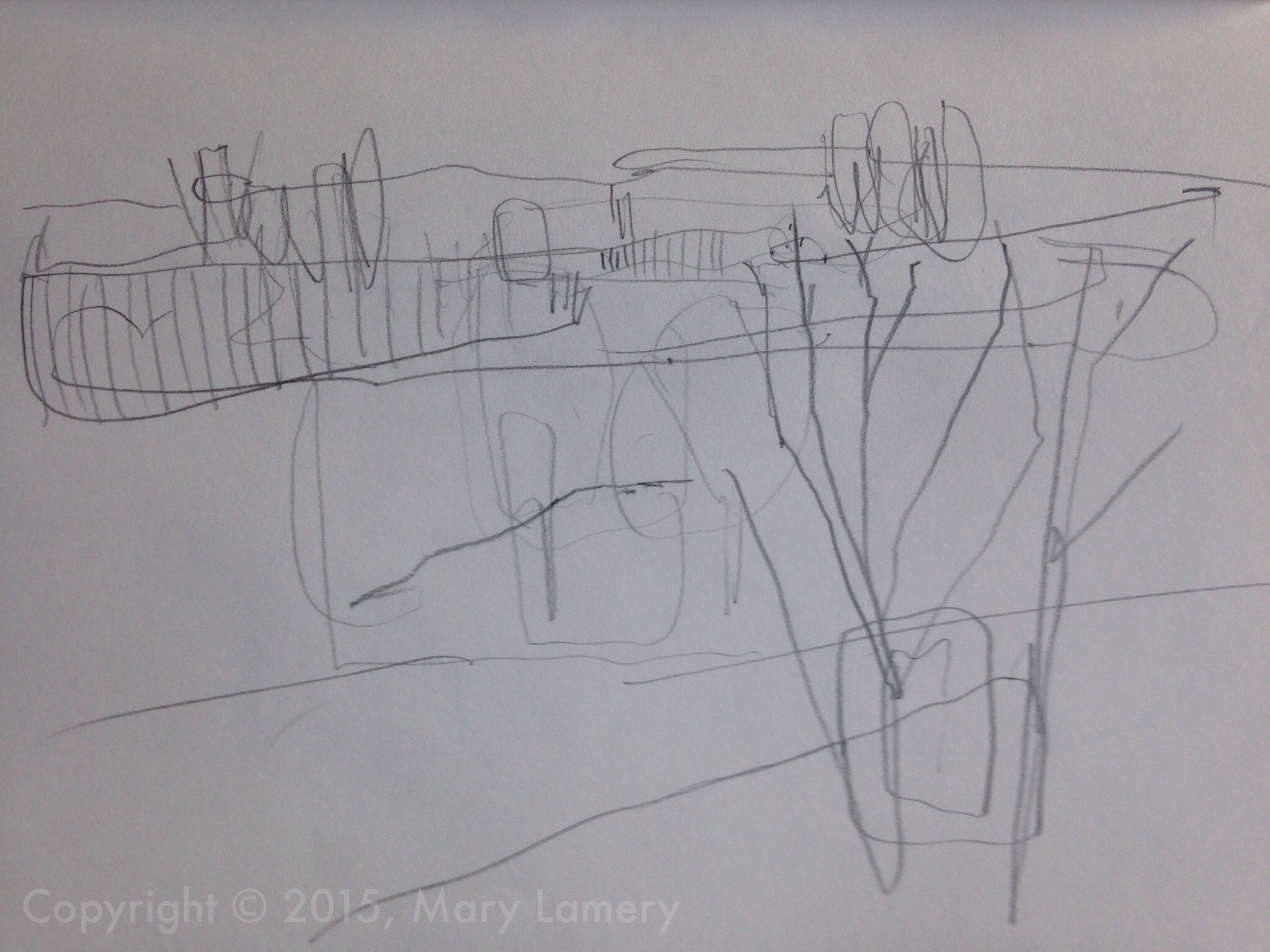 Sketch of apricot trees, orchard. March 2015.