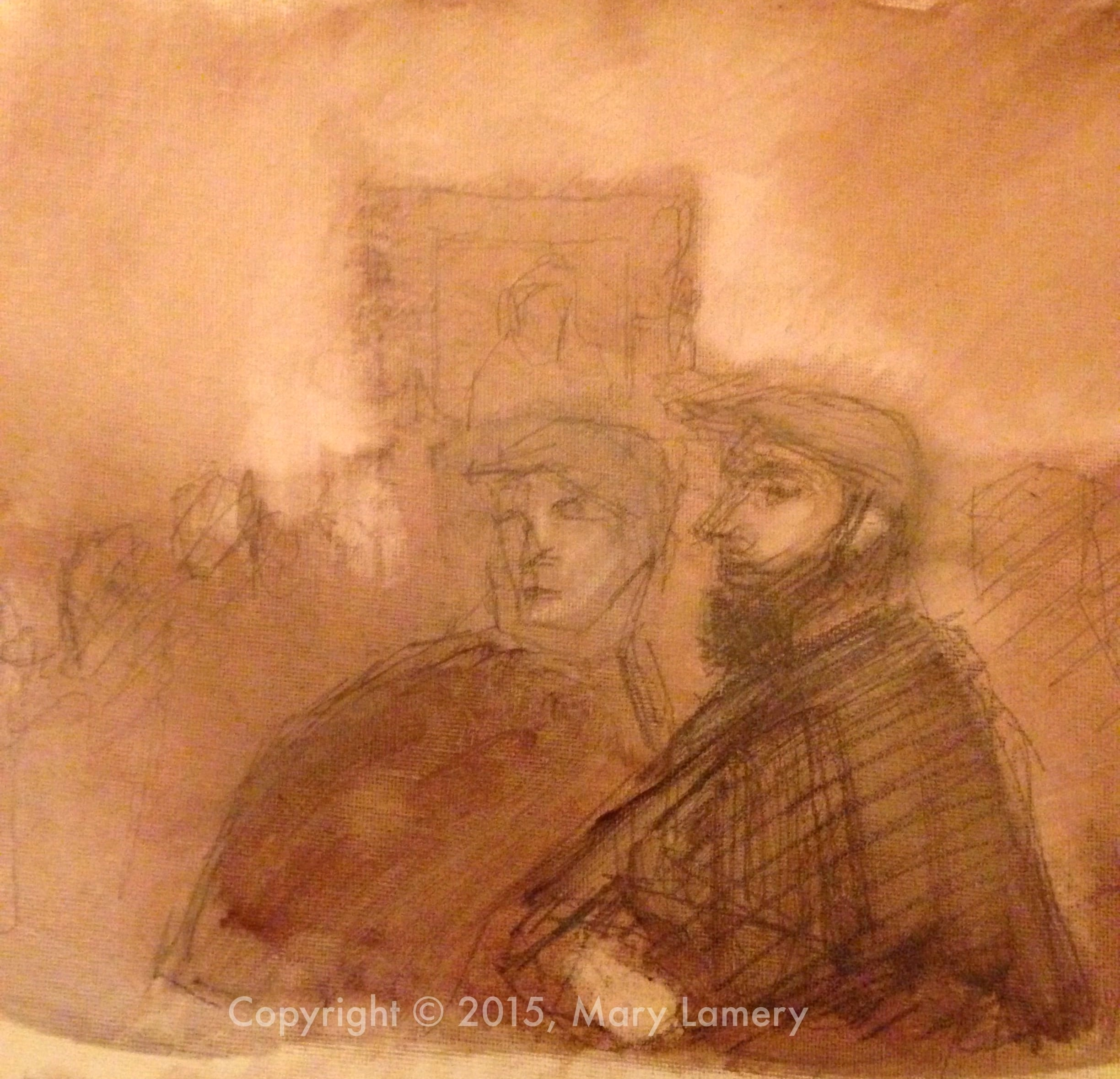 "I saw a gentleman (on the right) in the Impressionist galleries at SAM that reminded me of a French Impressionist painter.  He reminded   me in real life of the Manet painting above.  I painted this quick oil sketch from drawings I made. Oil on canvas paper. 8.5x11"". ML."
