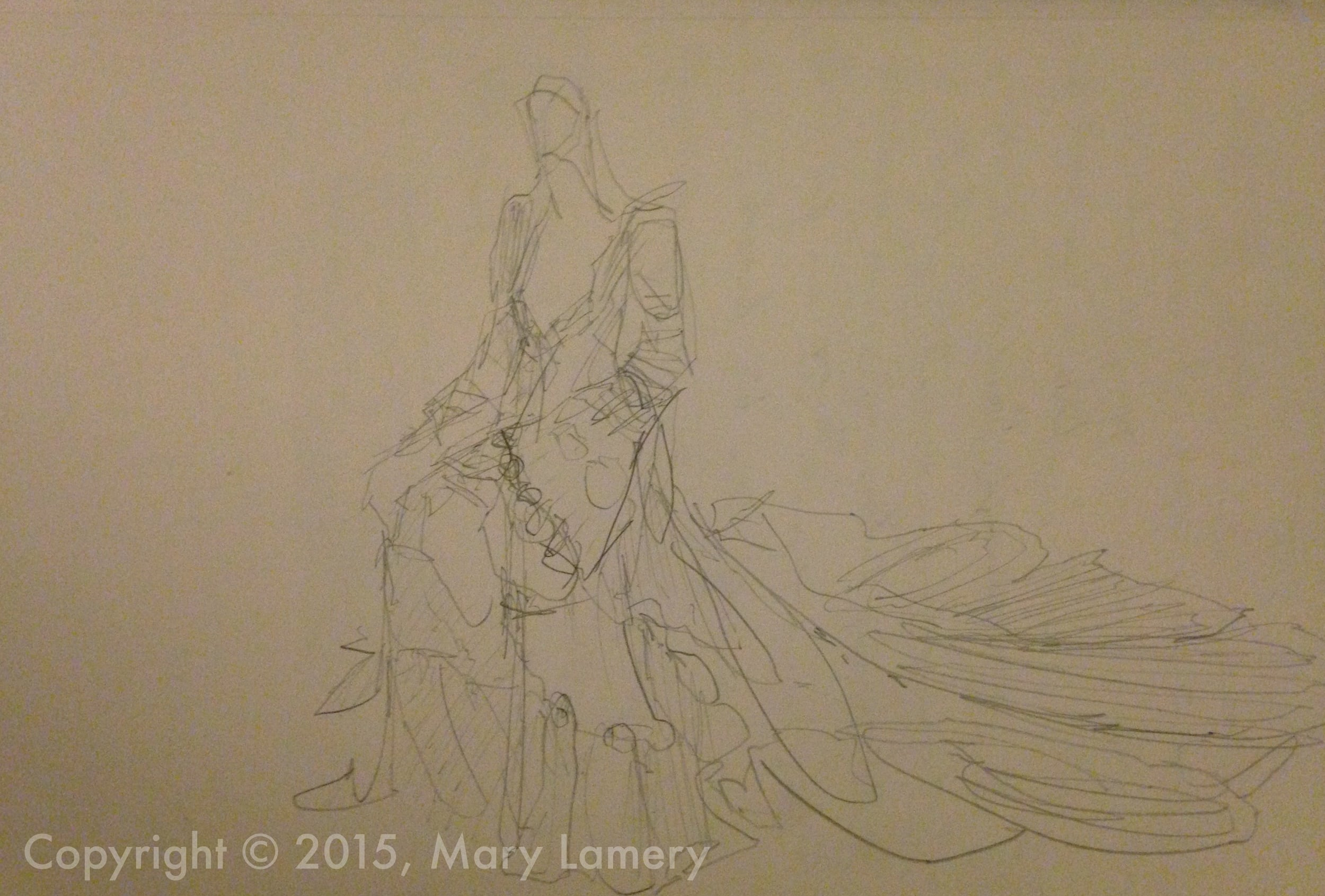 Pencil Sketch. Birgitte Bjerke.  Wedding dress.