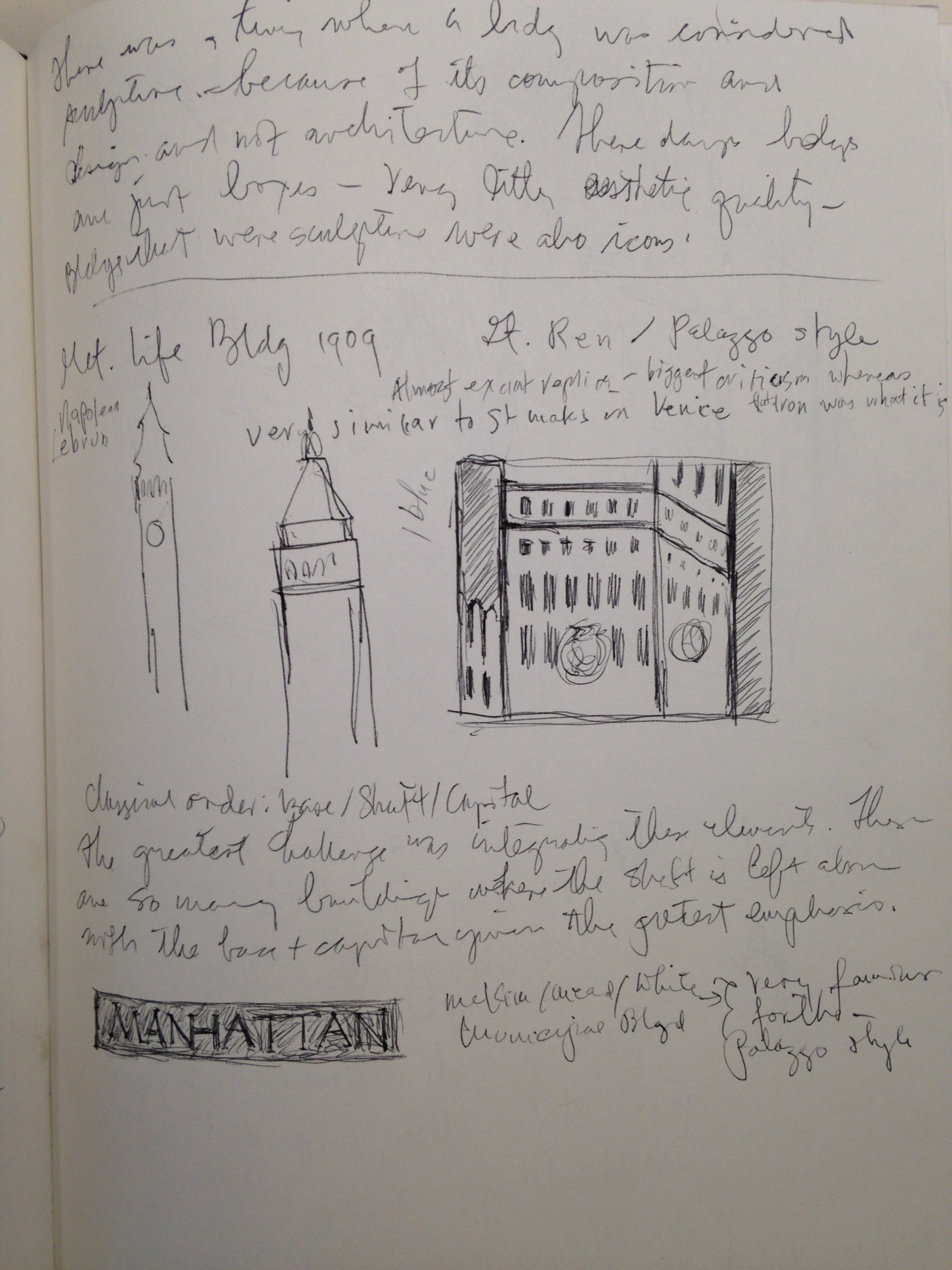 """Notes/drawings from class, """"Architecture of New York."""" November 1990."""