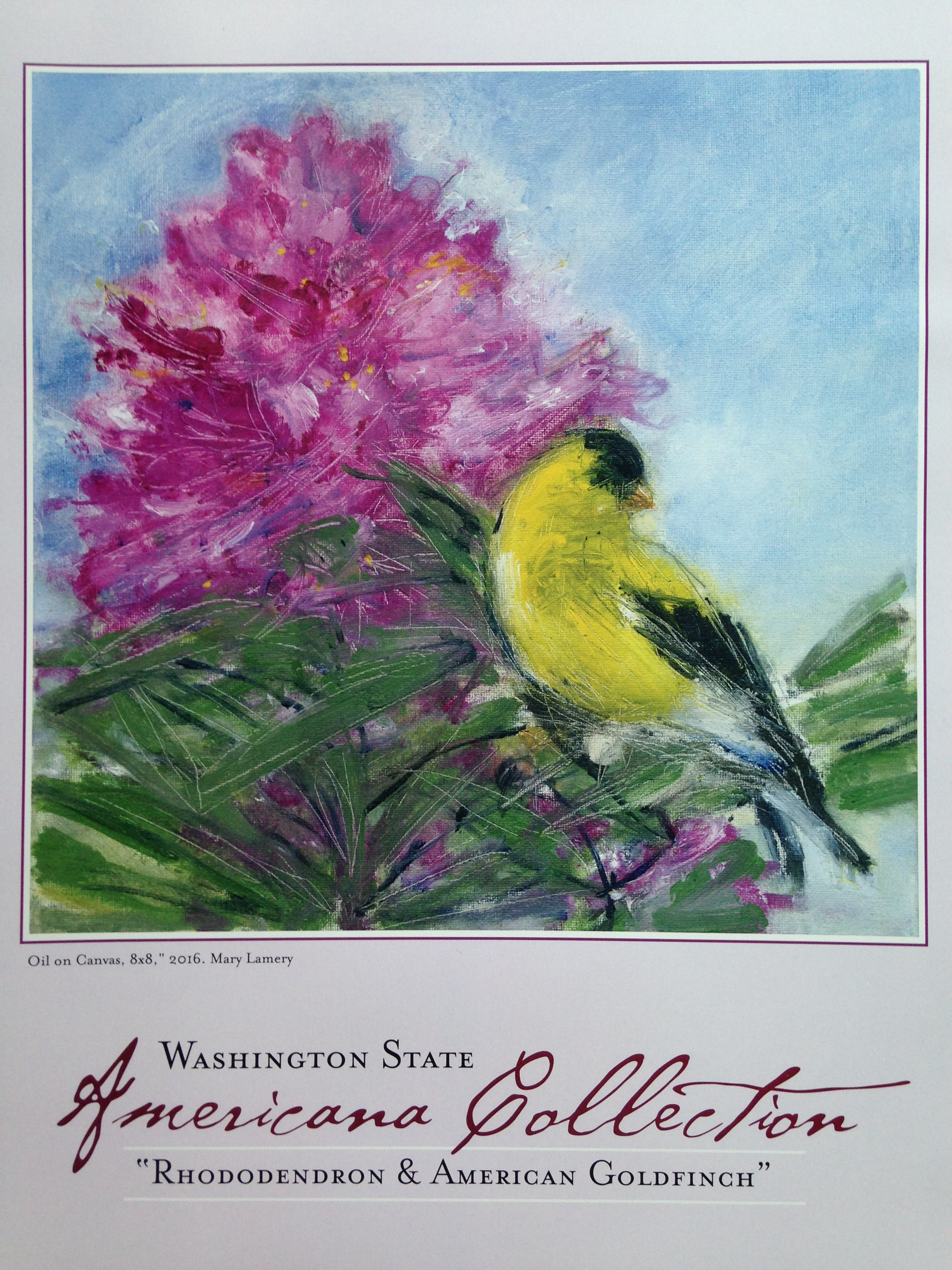 """Rhododendron & American Goldfinch Poster. 11x14"""". $15. See my   shoppe !"""