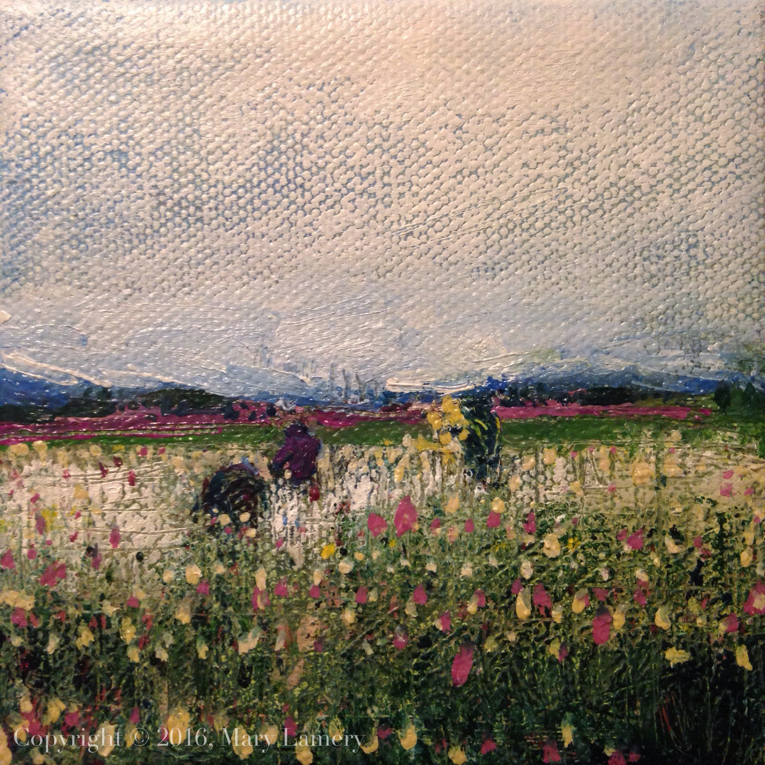 "Gathering Tulips. Oil on Canvas, 4x4.:"" 2016"