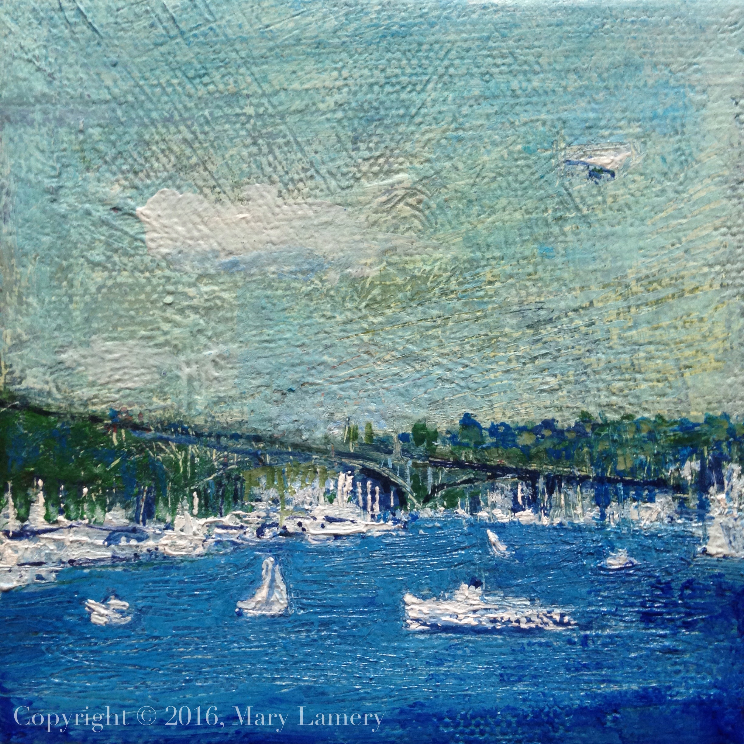 "Boating, Lake Union. Oil on canvas. 4x4."" 2016."