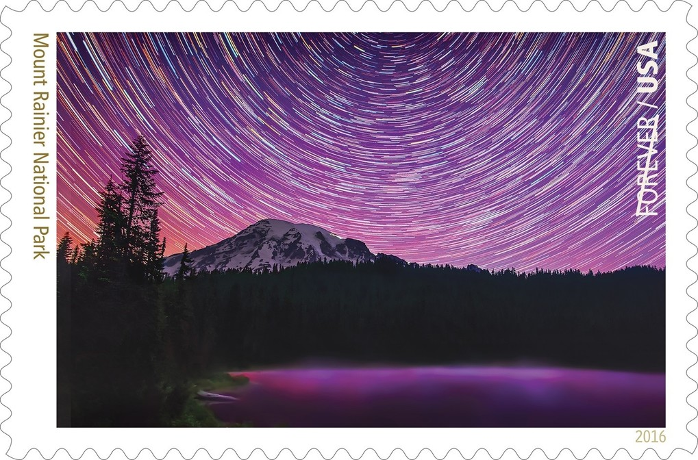 """A stunning star trail photograph comprised from 200 images was previewed today to celebrate Washington's Mount Rainier as the 13th of 16 Forever Stamp images to be revealed over a three-week period to celebrate the National Park Service's 100th anniversary."" Read the press release   here  ."