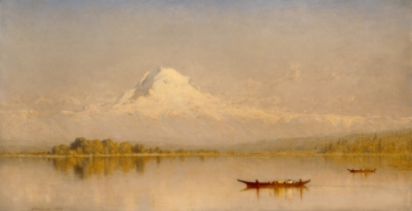 "Mount Rainier, Bay of Puget Sound. Oil on Canvas. ""20x41-1/2."" 1875. Stanford Gifford. Collection: Seattle Art Museum   ""In the summer of 1874, Gifford set out by himself for Oregon and Alaska. Returning from the far north, Gifford traveled the length of Puget Sound and was able to see the great domes of the Cascades. The appearance of the ethereal-seeming, majestic Mount Rainier on an August afternoon clearly enchanted him. He thrilled to the particular spirit of this place of grand volcanic peaks and ancient peoples, where, at times, when the skies clear and Rainier emerges out of the mist, we are granted the privilege of glimpsing what seems the heavenly home of the gods."""