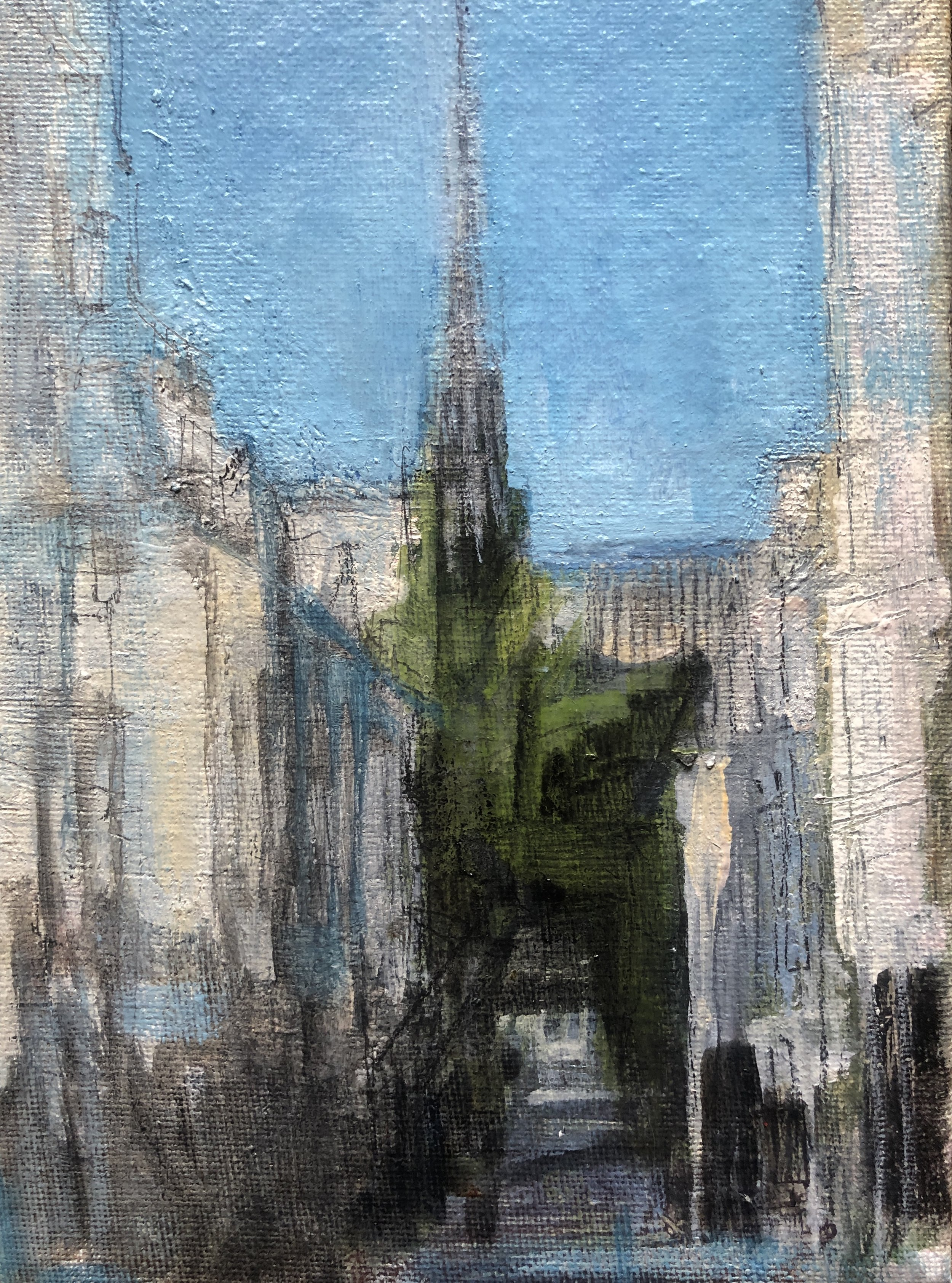 """This is a painting I have been working on from my French series of my June 2018 visit. It is of the spire of Notre-Dame Cathedral. This painting takes on a deep and profound meaning now that the spire has fallen from the April 15 fire. Oil on canvas, 5x7."""" Work in progress."""
