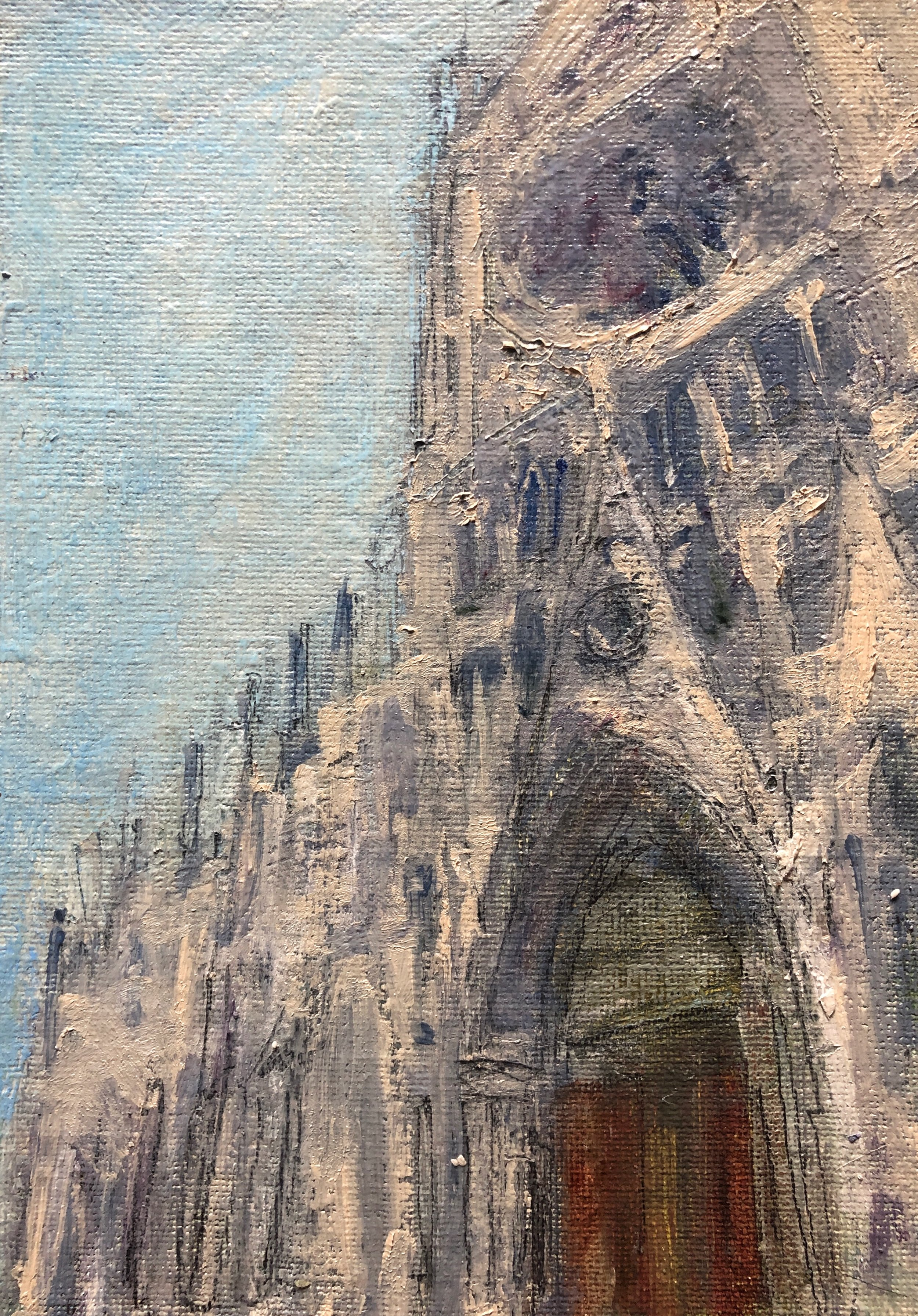 "View of Notre-Dame Cathedral from the front entrance. Oil on Canvas, 5x7."" Work in progress. Image from my visit in June 2019."