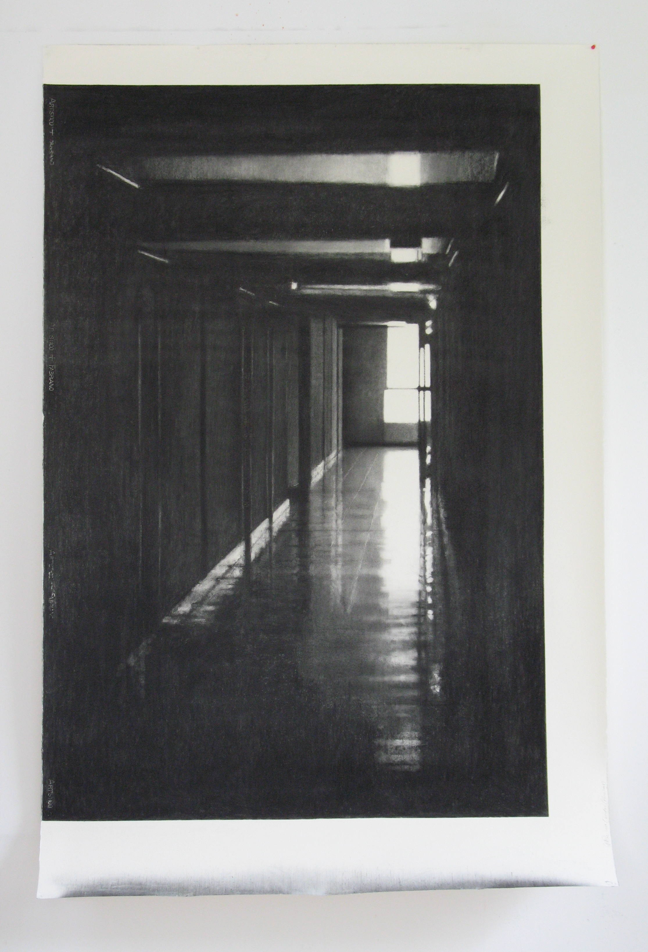 Drawing (Corridor, Cité des Arts), 2010, willow charcoal on Fabriano paper, 220x140cm.