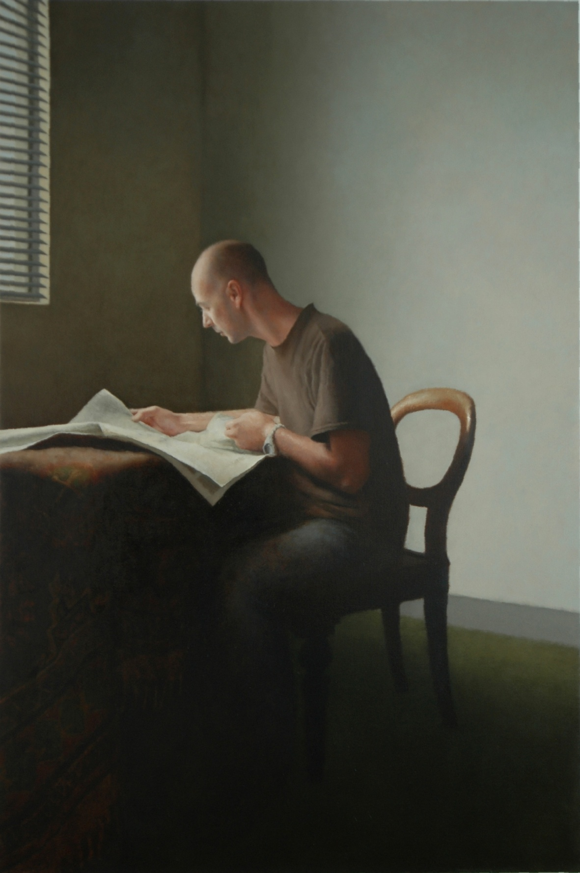 Large Interior 175 (Richard), 2005, Oil on linen, 1800mm x 1200mm.