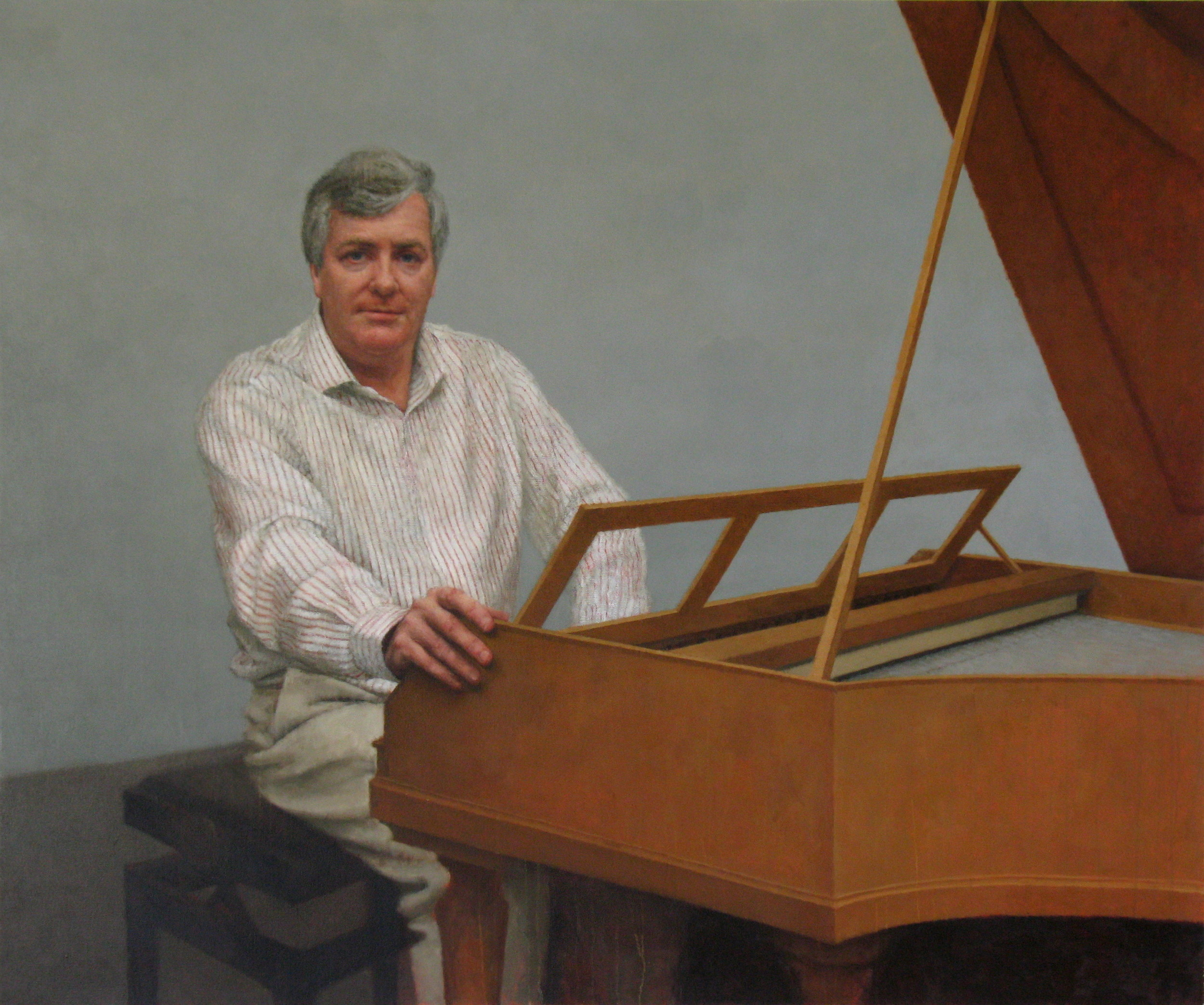 Portrait of Geoffrey Lancaster AM, 2011, Oil on linen, 1530mm x 183mm, National Portrait Gallery, Australia.