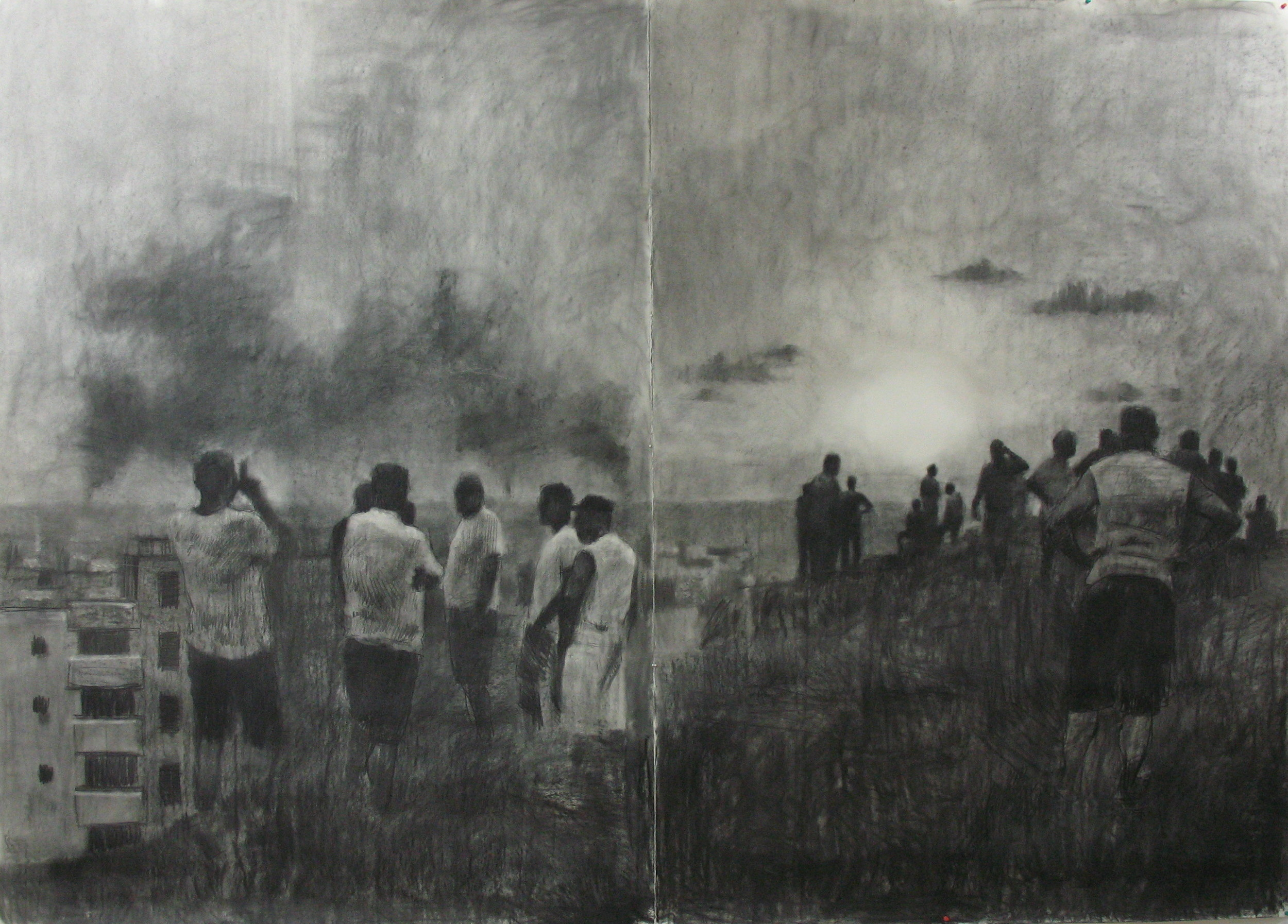 July 2006 (Beirut study), 2009, Willow charcoal on Fabriano paper, 2000mm x 2800mm