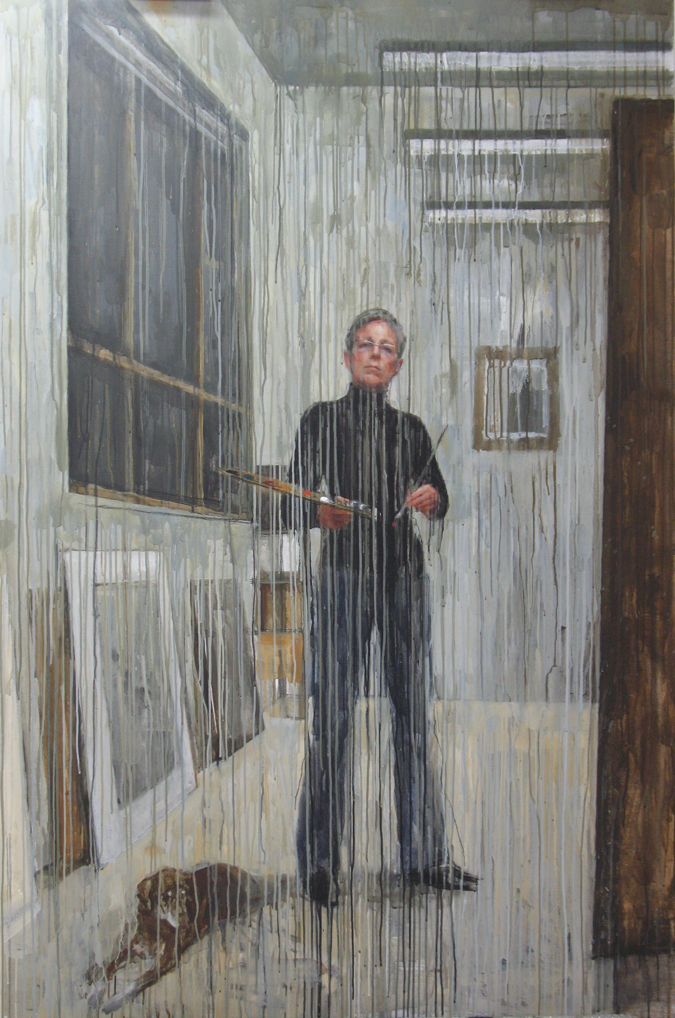 Self Portrait (the year my husband left), 2008, acrylic and oil on linen, 153cm x 198cm.