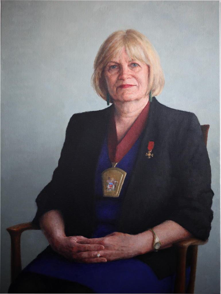 Dr Leona Wilson ONZM, 2011, Oil on linen, 900mm x 1200mm.