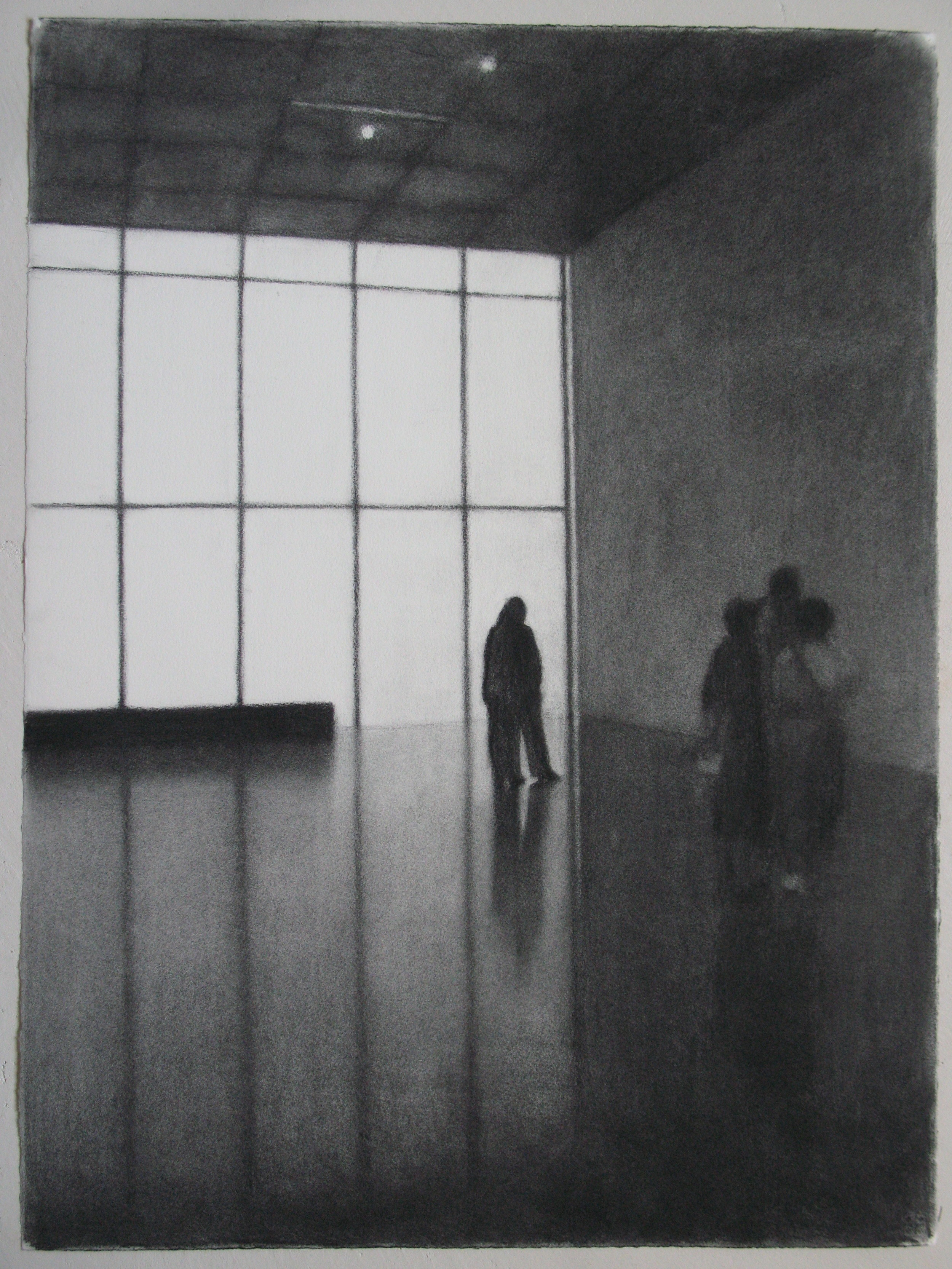 Kunsthaus Bregenz II, 2007, willow charcoal on paper, 56x75cm.