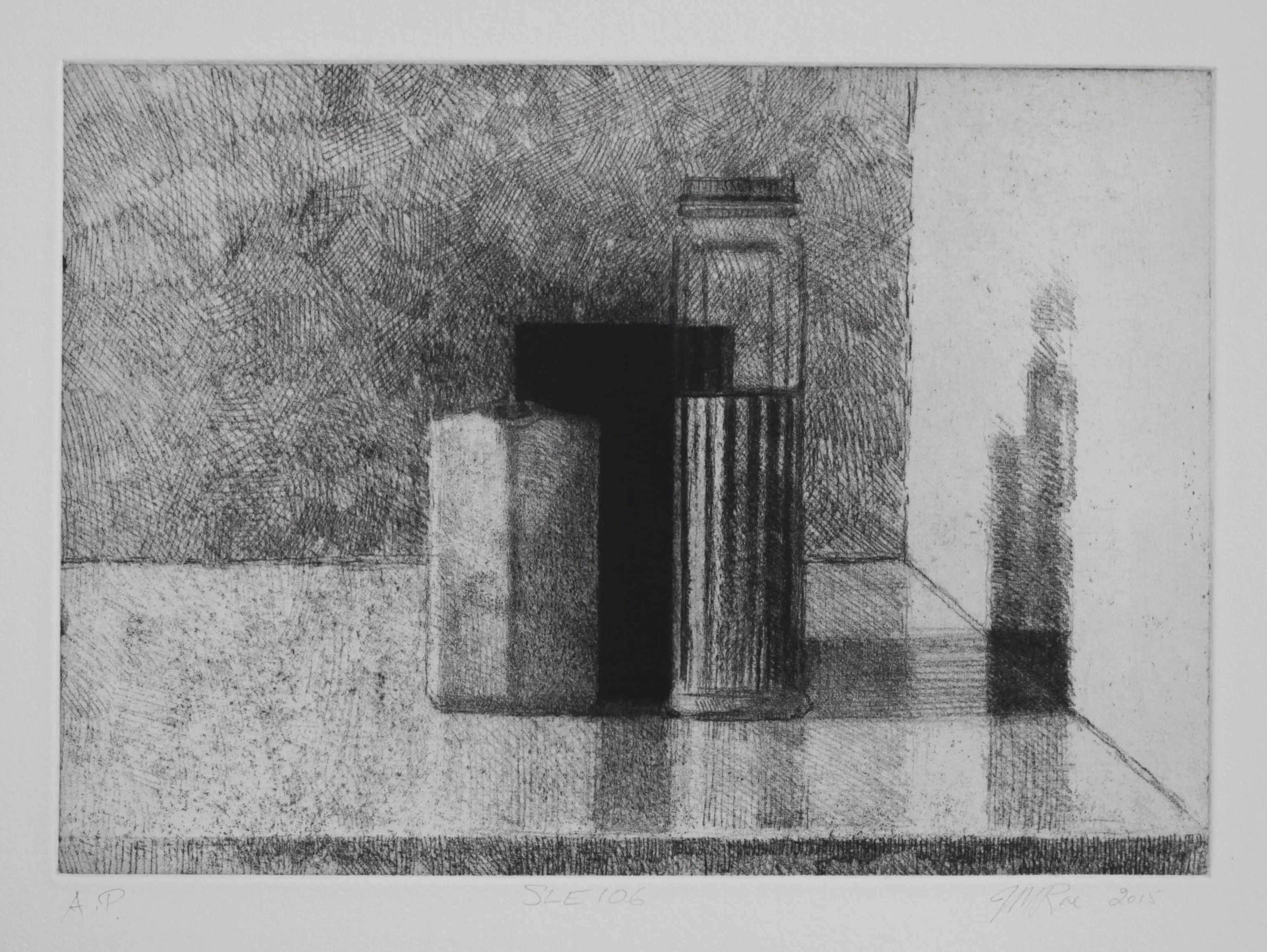 SLE106, 2015, soft ground etching with foul bite on Hahnemühle paper 615mmx 530 (plate 292mm x 208mm).