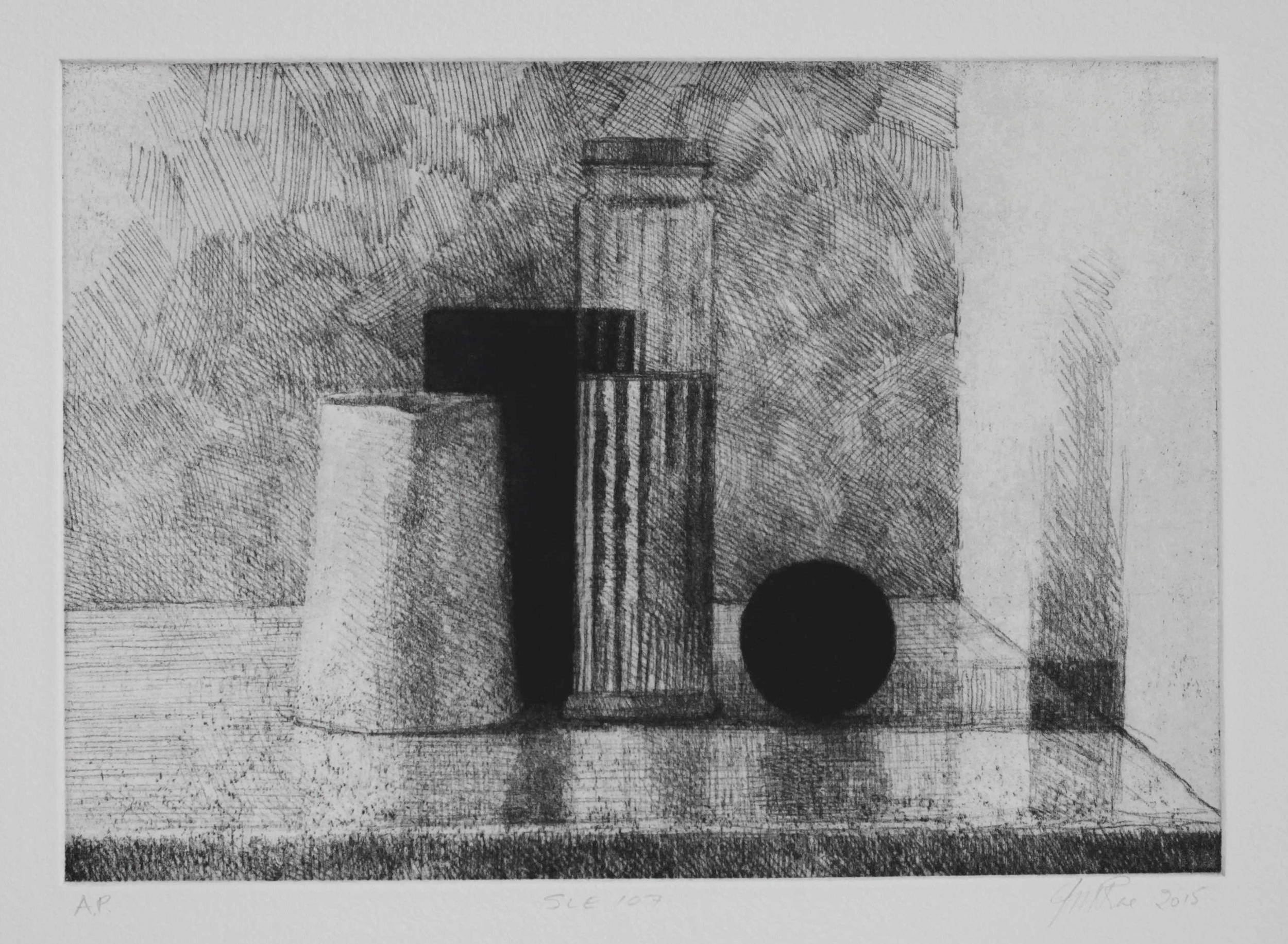 SLE107, 2015, soft ground etching with foul bite on Hahnemühle paper 615mmx 530 (plate 292mm x 208mm).