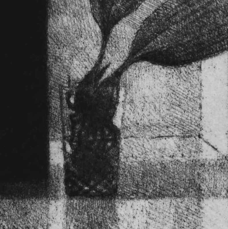 SLE108 (detail), 2015, soft ground etching with foul bite on Hahnemühle paper 615mmx 530 (plate 292mm x 208mm).
