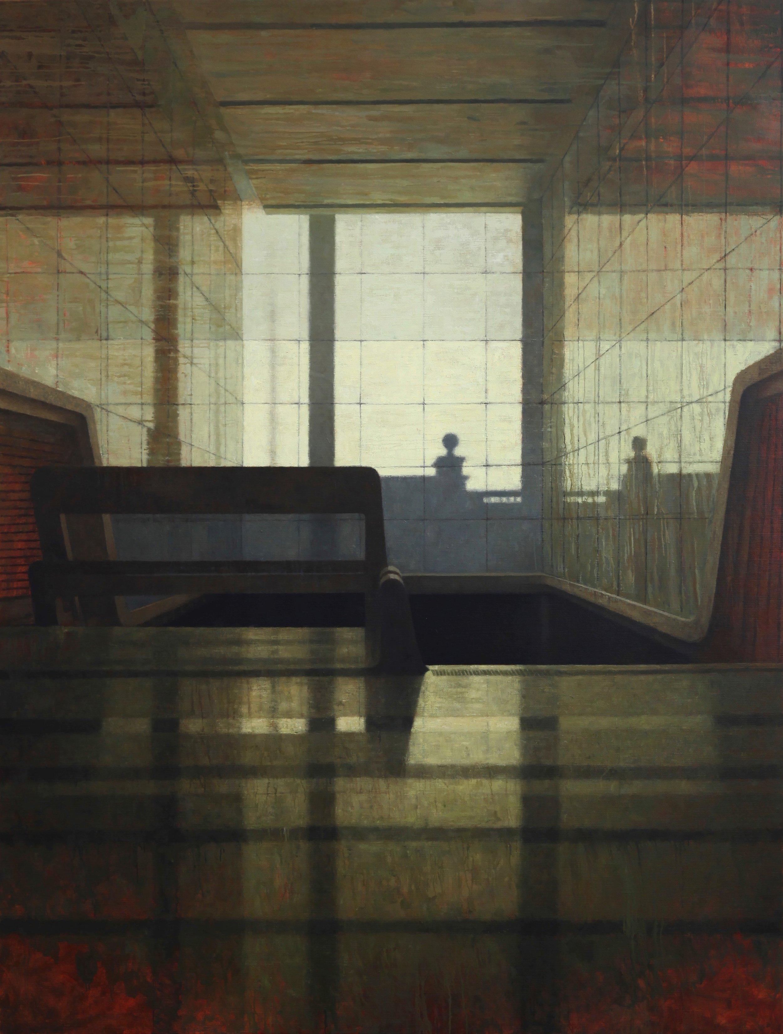 Interior 370 (Foyer I), Oil on linen, 1980mm x 2600mm, 2017
