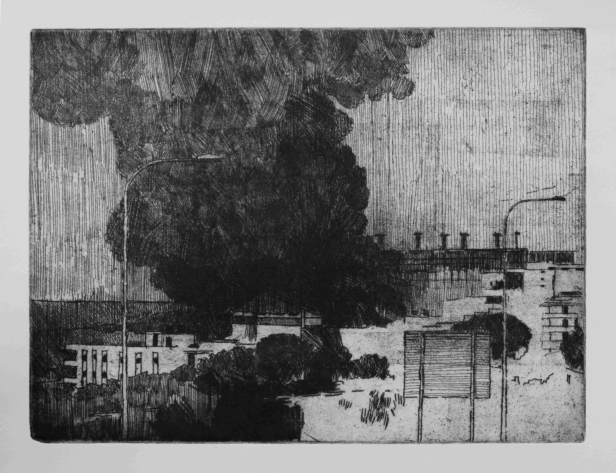 July War 2006 (Beirut, explosion), 2007, hard ground copper etching on Hahnemuhle paper, 37cm x 42.5cm, edition of 10 (2017)