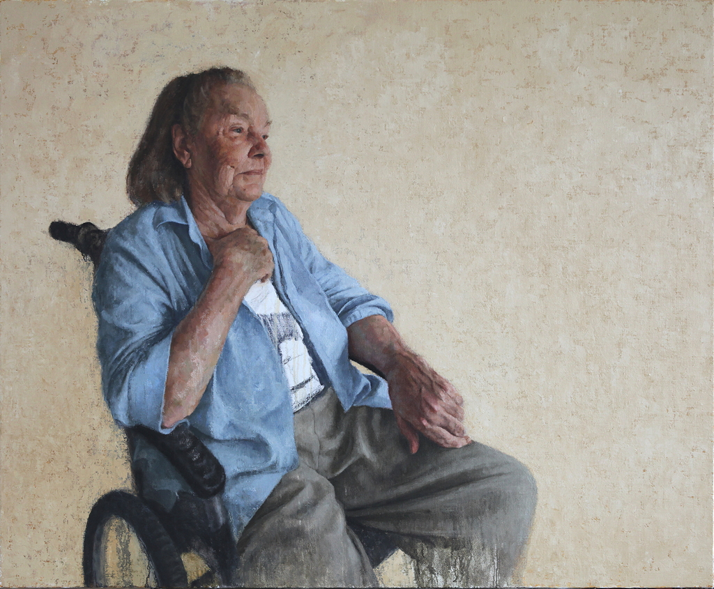 Portrait of the Artist's Mother - Val at 93, 2018, oil on linen, 1500mm x 1800mm