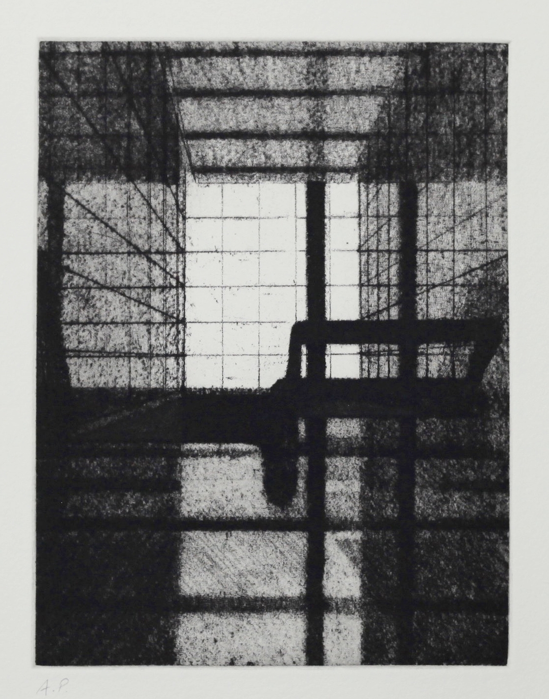 Interior (Foyer I), Soft ground etching, Zinc plate 195x146mm, 2017
