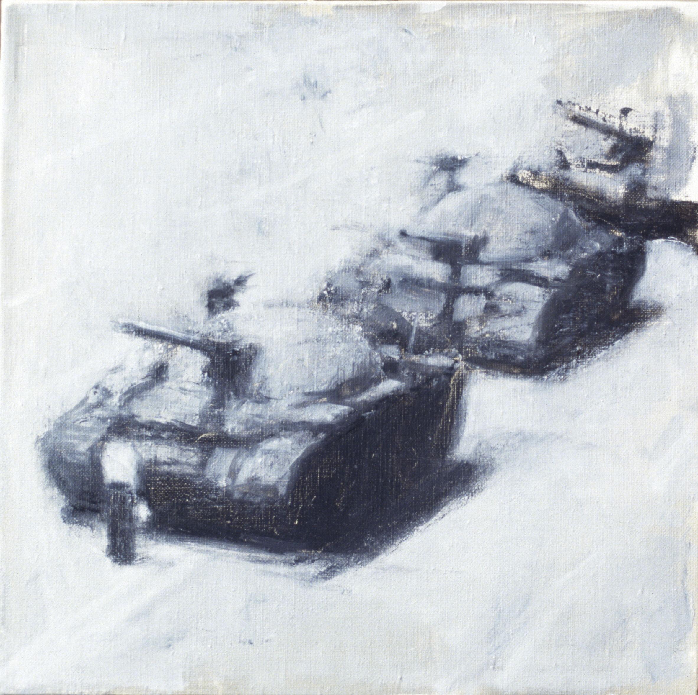 Tank Man (Tiananmen Square), 1989, oil on linen, 300 x 300mm
