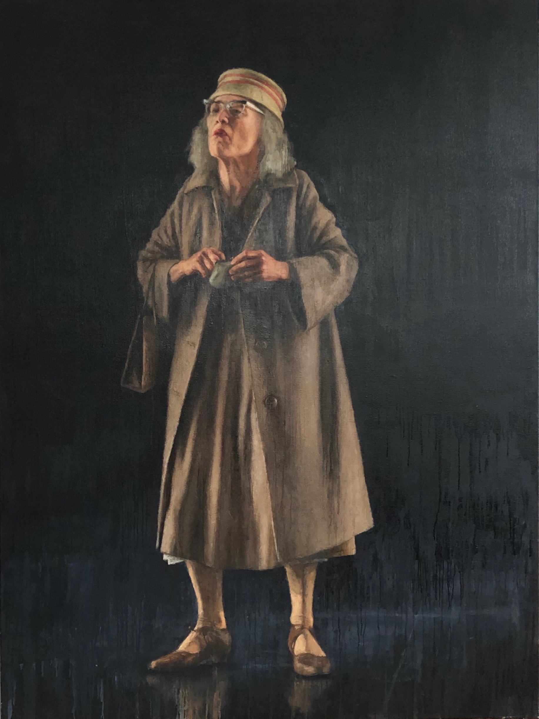 "Sarah Peirse as Miss Docker in Patrick White's ""A Cheery Soul"", 2019, oil on canvas, 183 x 137.5cm"