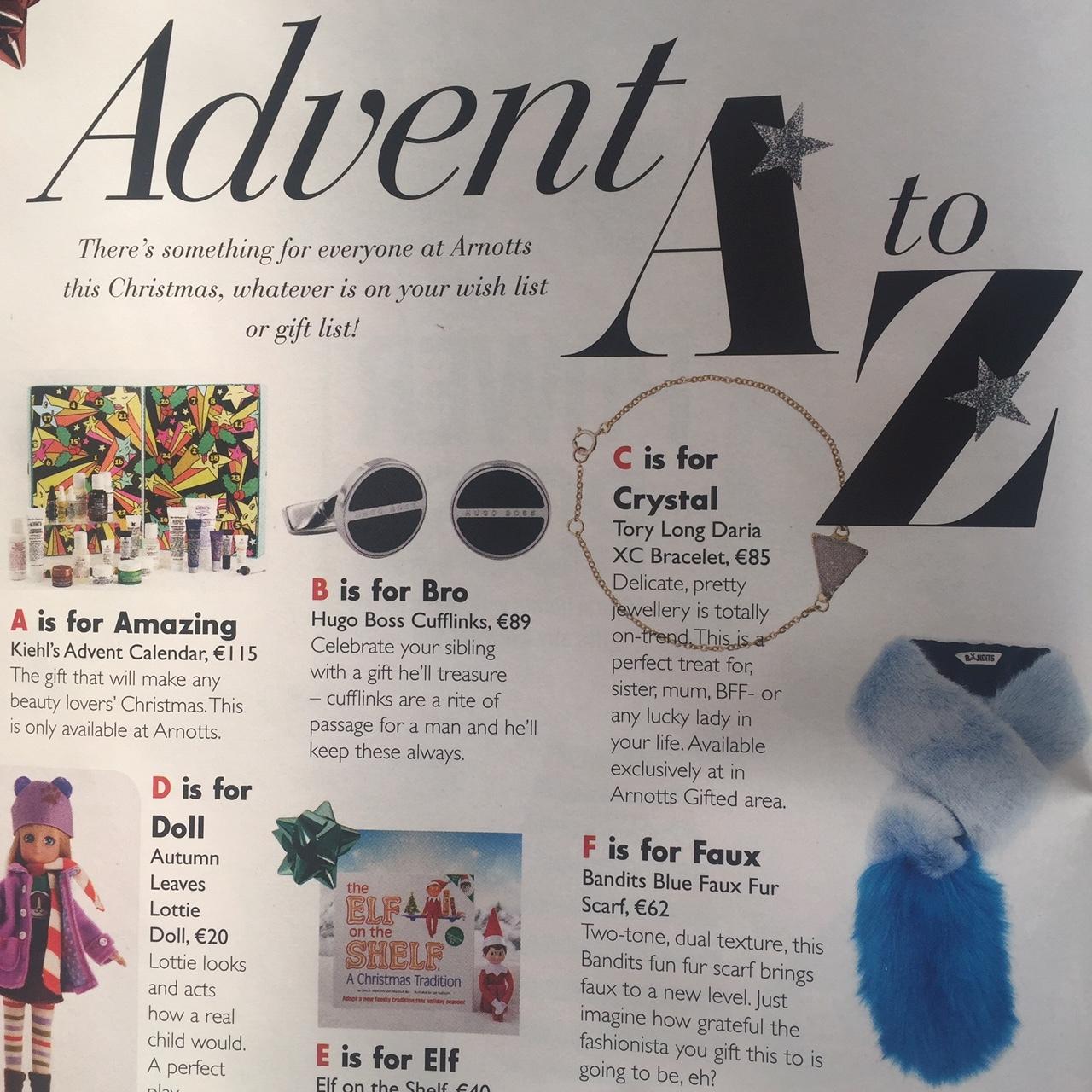 Stellar Magazine December 2016 - Daria T bracelet included in the Advent A-Z gift guide in Stellar Magazine December 2016