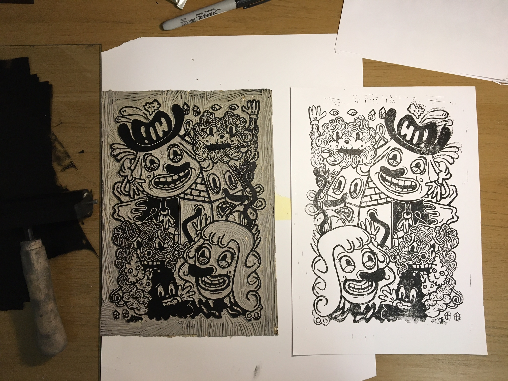 Linocut in progress, 2017