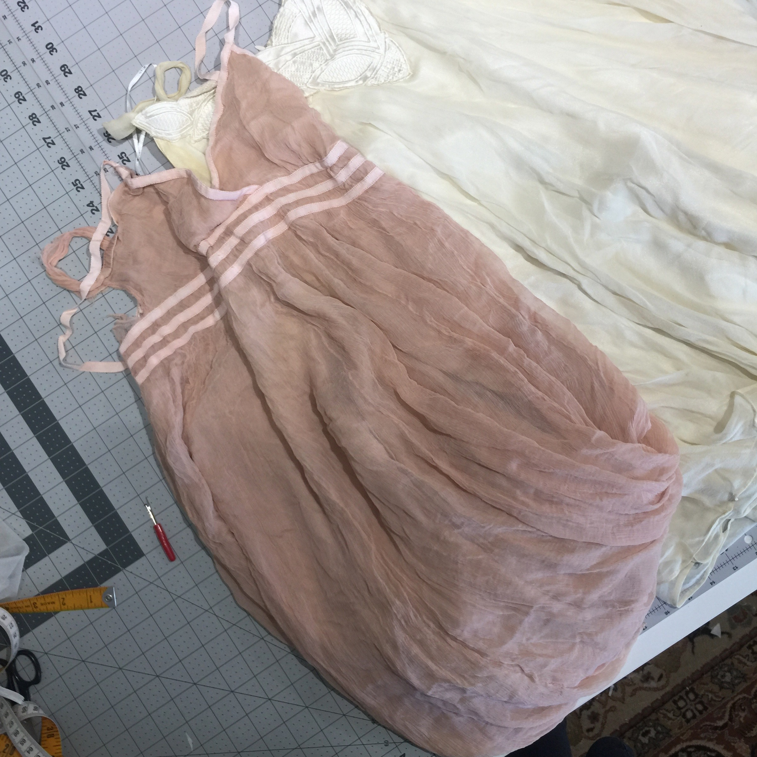 The two dresses before deconstruction