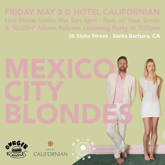 Santa Barbara and beyond, let's do this. Record release party at the @hotelcalifornian next Friday, May 3rd. We'll do a live set at 5pm outdoors with the great @yoursmith followed by a rooftop listening and cocktail party. Both will be free and open to all ages. DM us with any questions and hope to see you there!