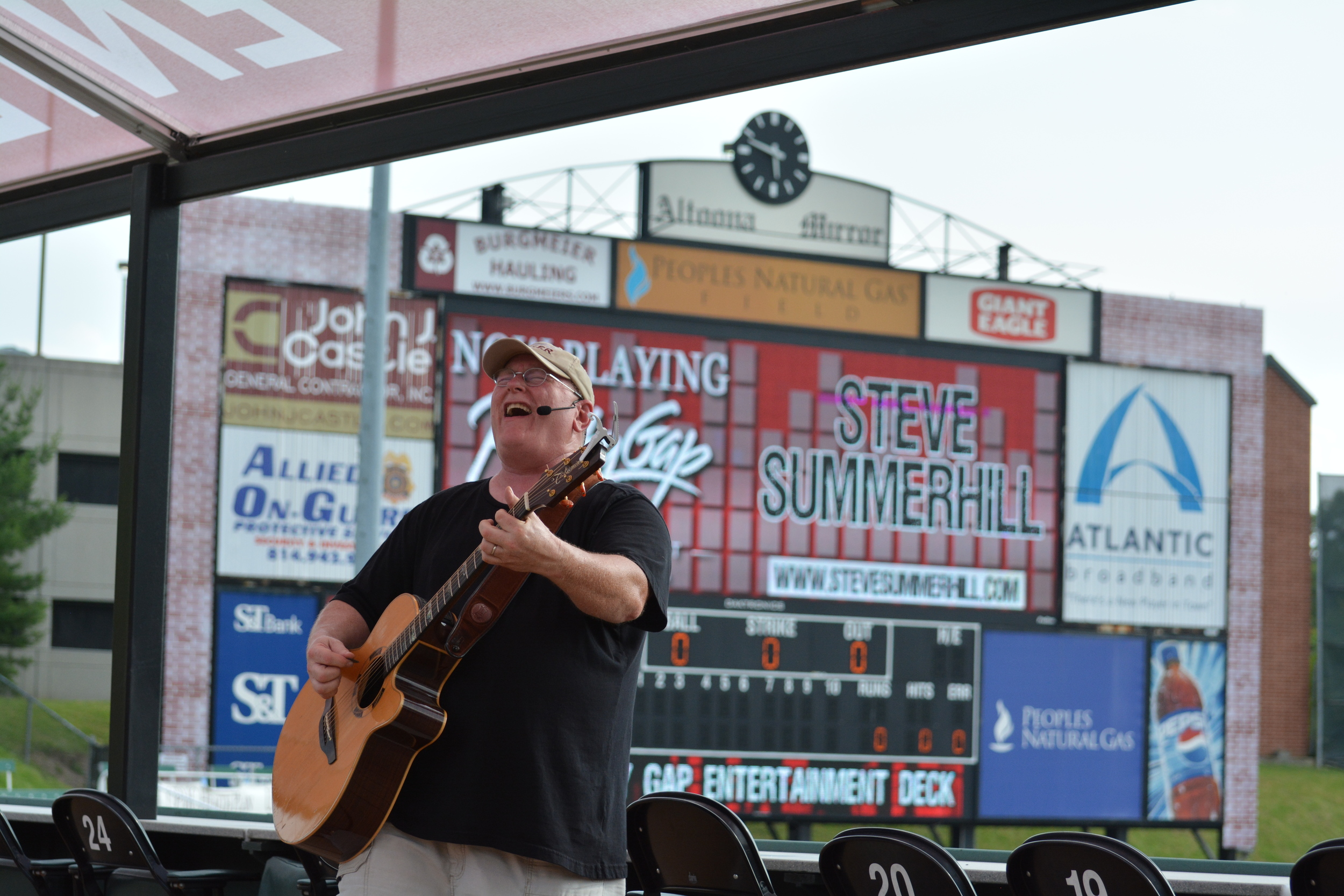 Had a great time at the Altoona Curve Baseball Park June 27. I played before the game on the entertainment deck. It was a beautiful evening and there was an unending supply of alcohol and food. Lots of smiling faces!  Click for more pictures