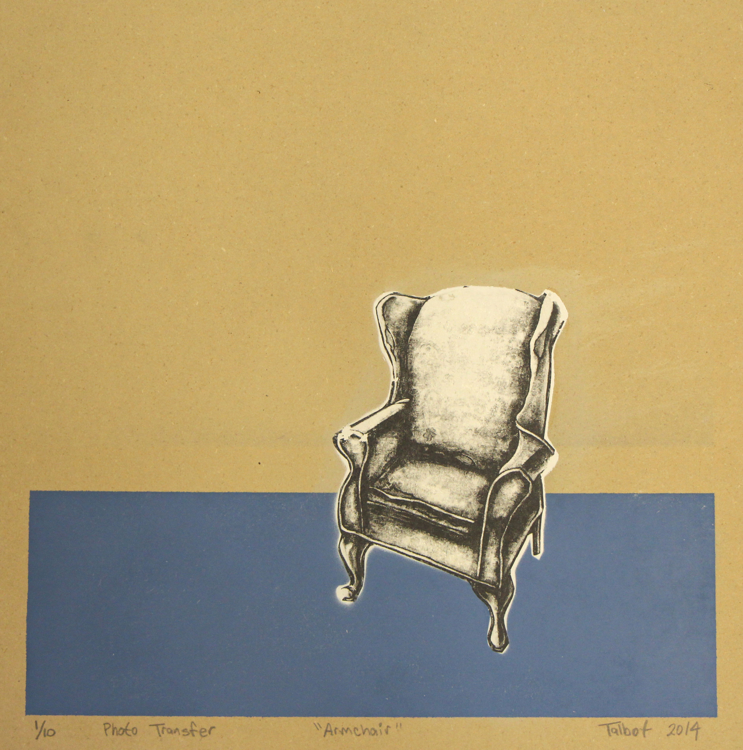 Ryan Talbot    Armchair, 2014  spray paint and photo transfer on panel  16 x 16 inches  edition of 10