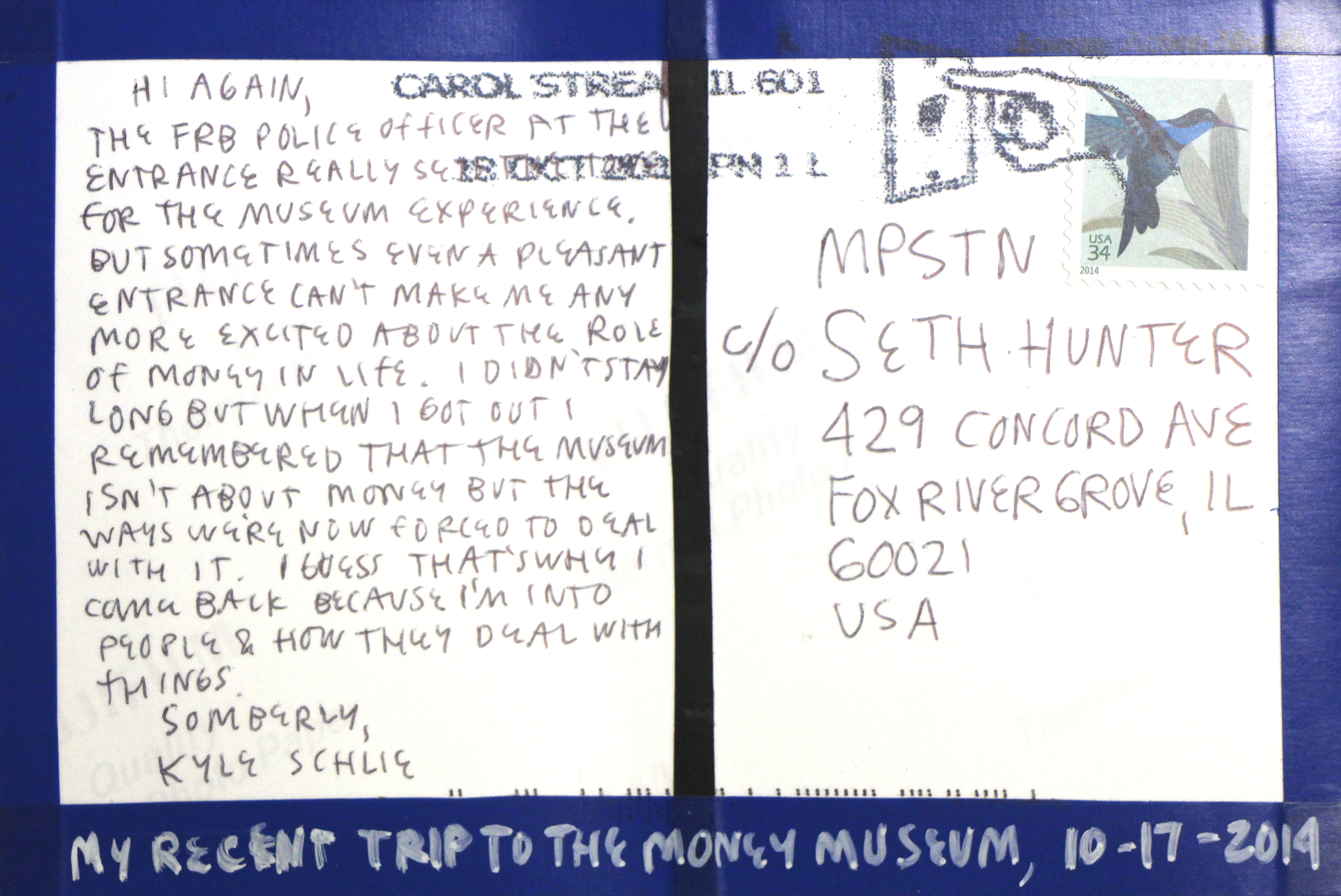 Kyle Schlie    My Recent Trip to the Money Museum... (blue tape), verso