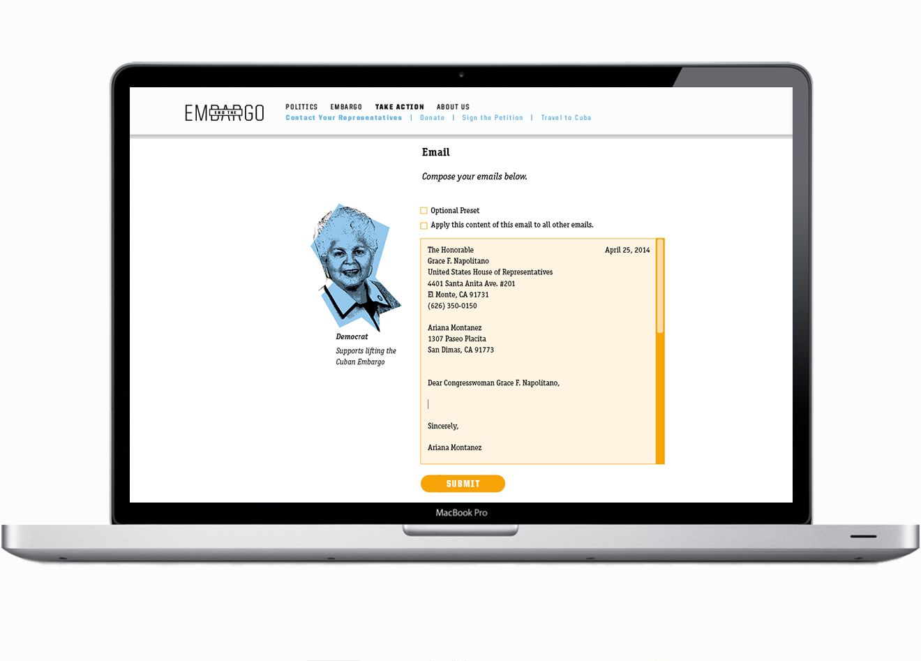 Users can identify and email their representatives through this site.