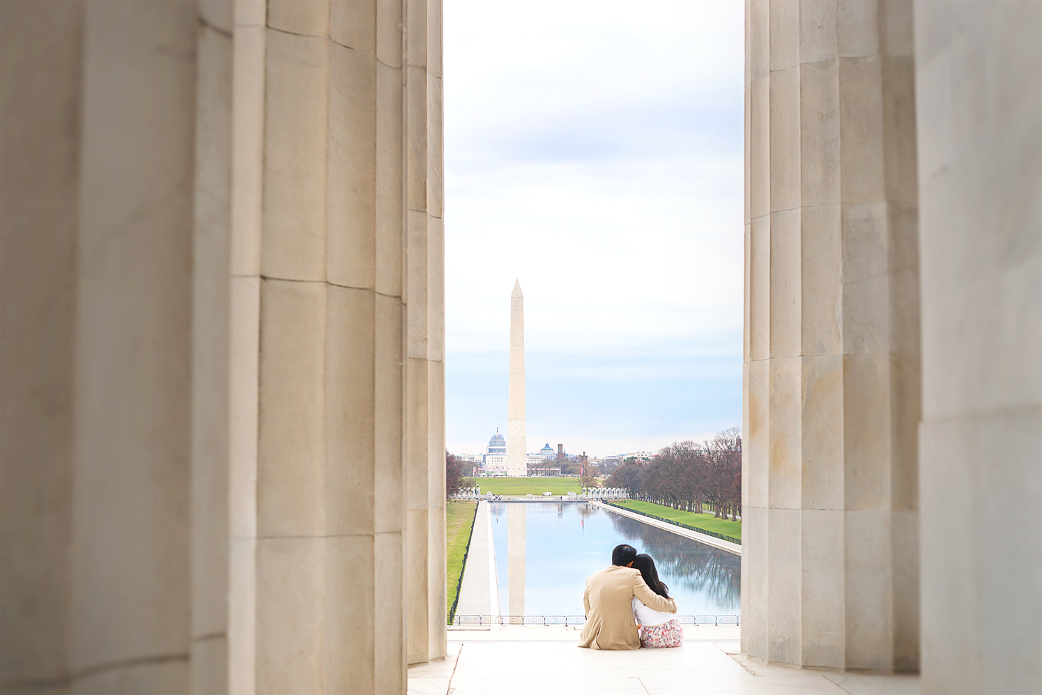 Washington DC monuments and cherry blossoms engagement session