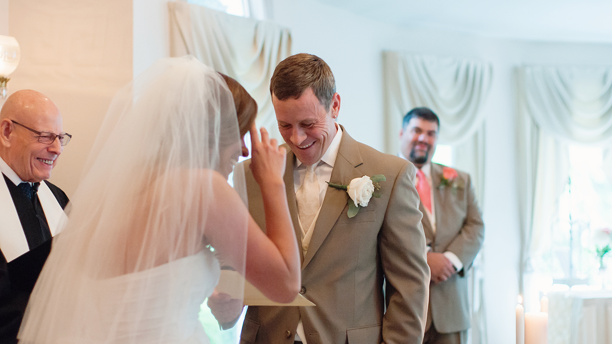 Bride and groom at indoor ceremony at Ceresville Mansion