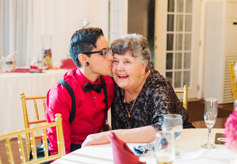 Kissing grandma at Bristow Manor wedding