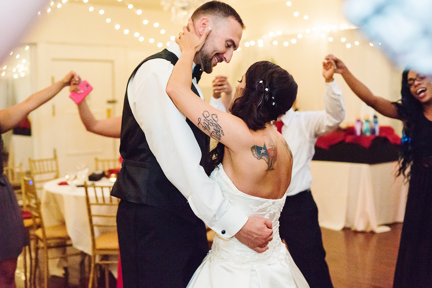 Last dance in a circle of friends at Bristow Manor wedding reception
