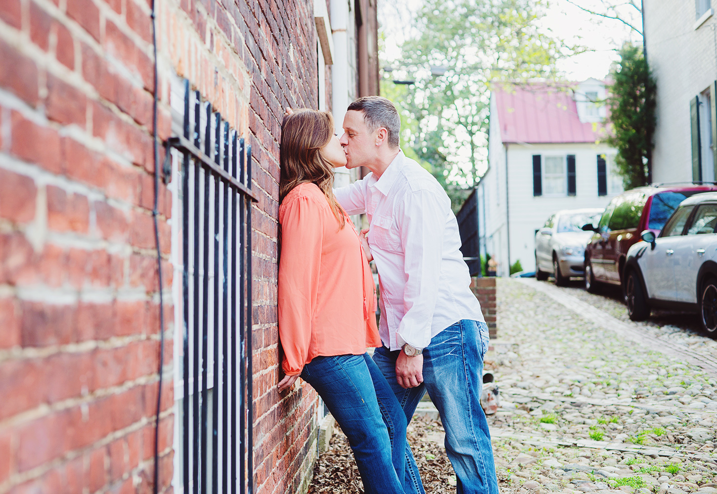 Old Town Alexandria waterfront engagement session in summer