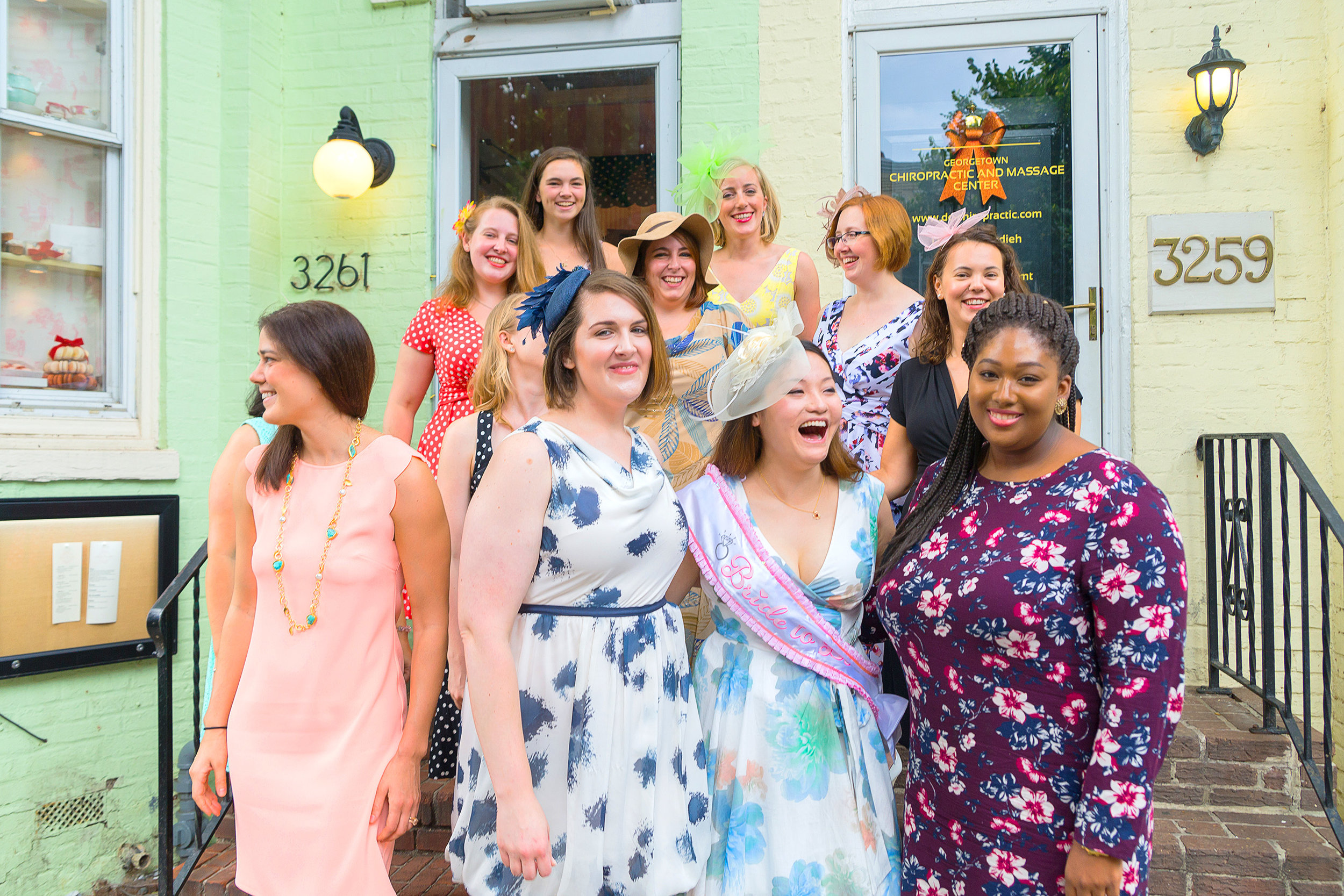 Bridal shower and bridesmaids in Georgetown DC tea room