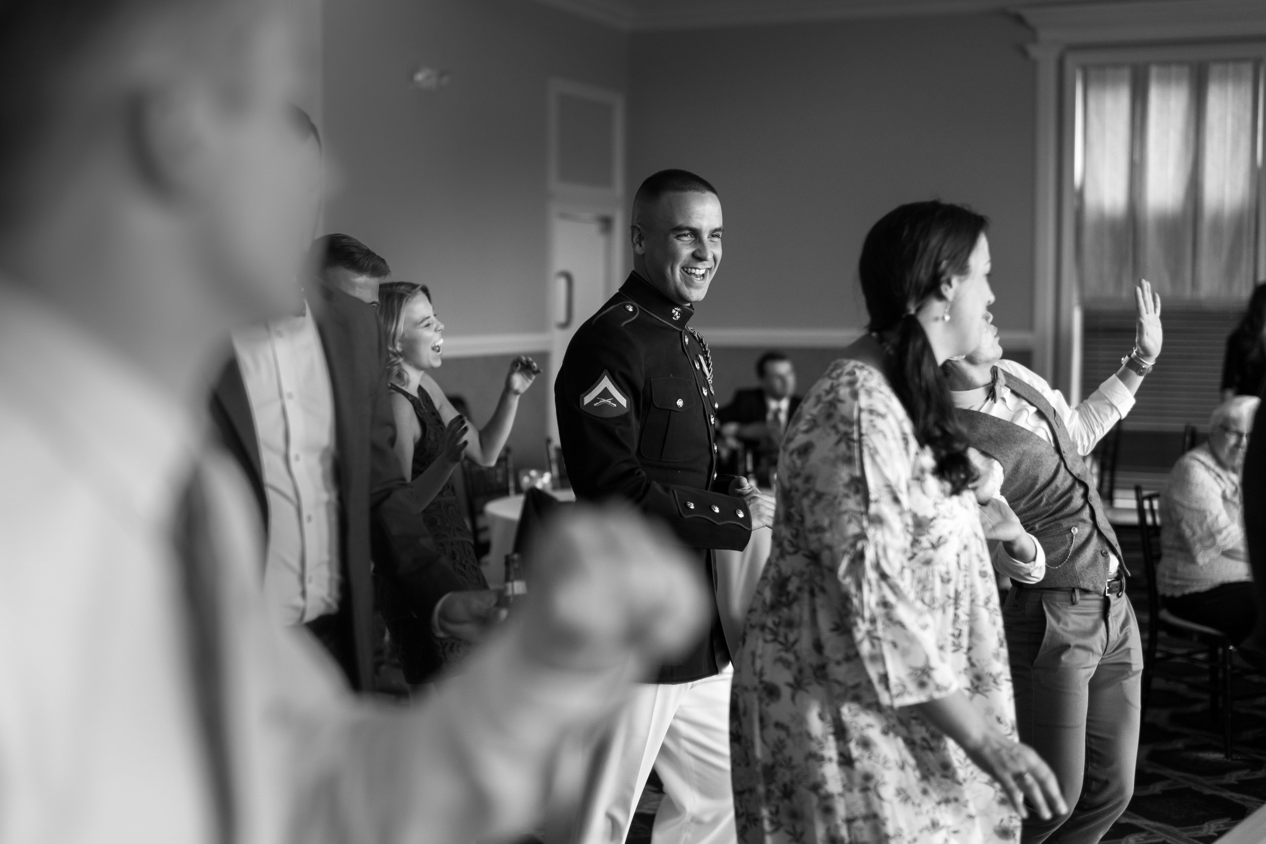 Military groom on the dance floor at Piedmont Private Events Golf Club