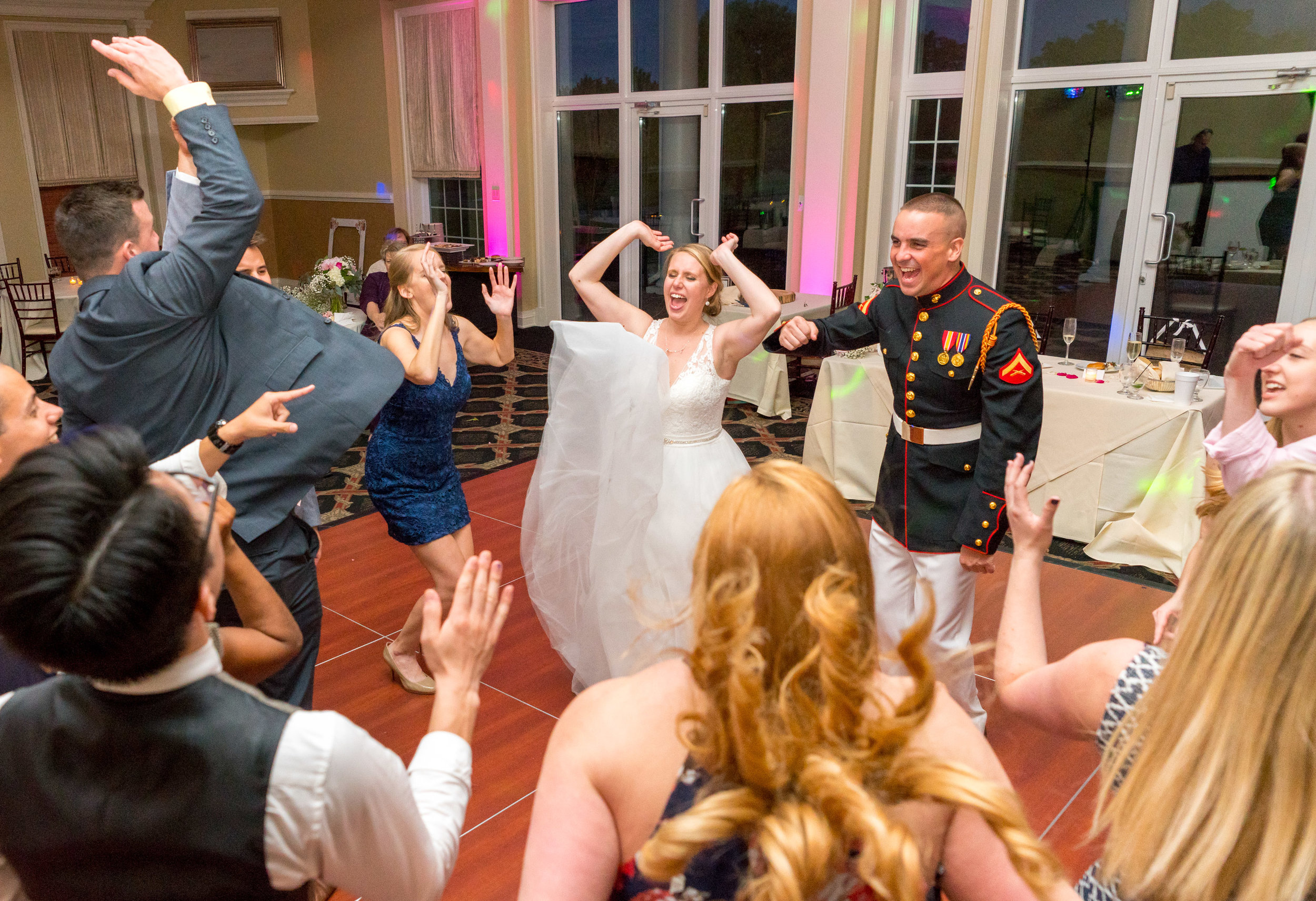 Bride and groom singing to Journey Don't Stop Believing in Virginia wedding