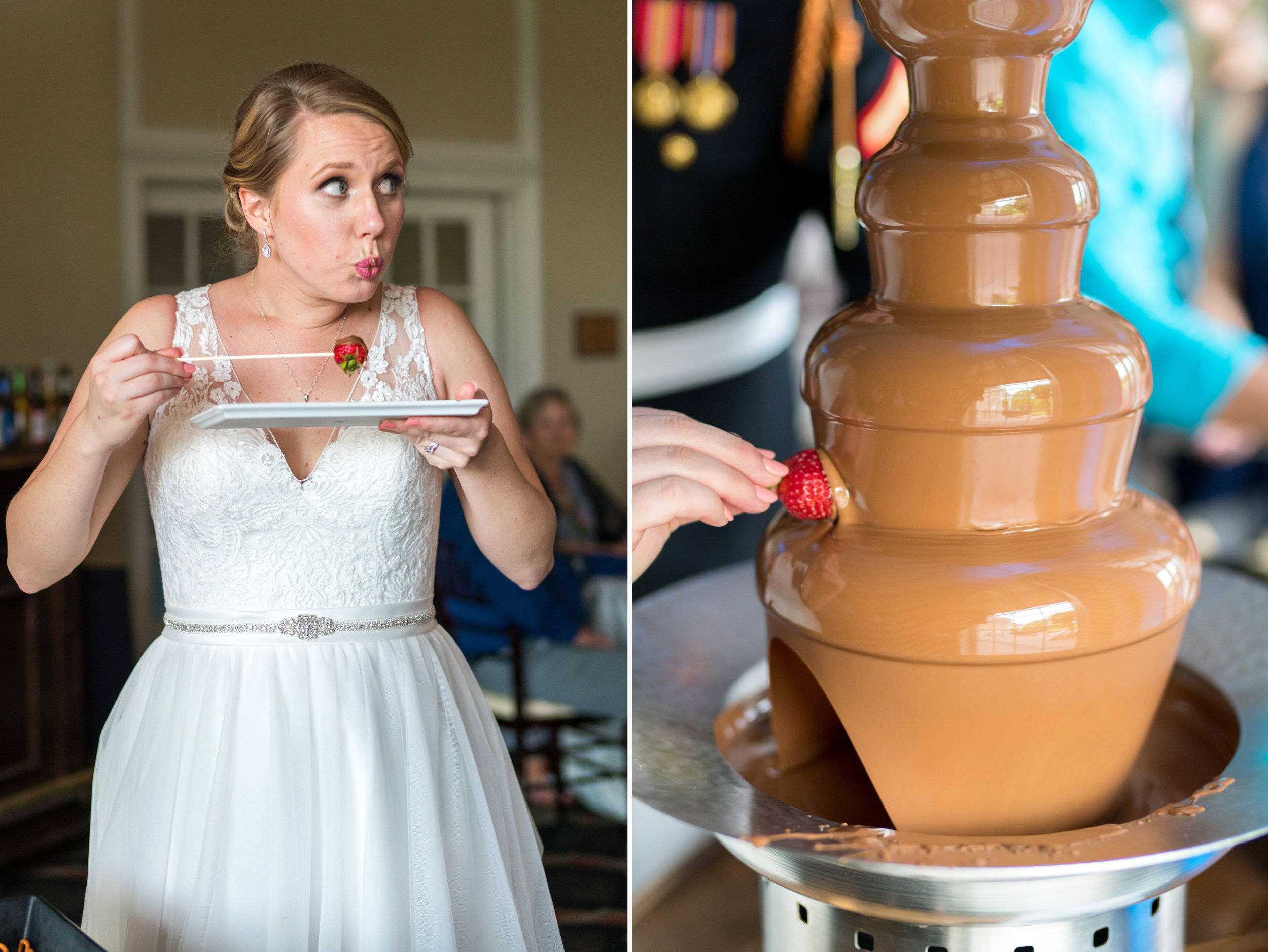 Bride eating a strawberry with chocolate fountain at Piedmont Golf Club wedding